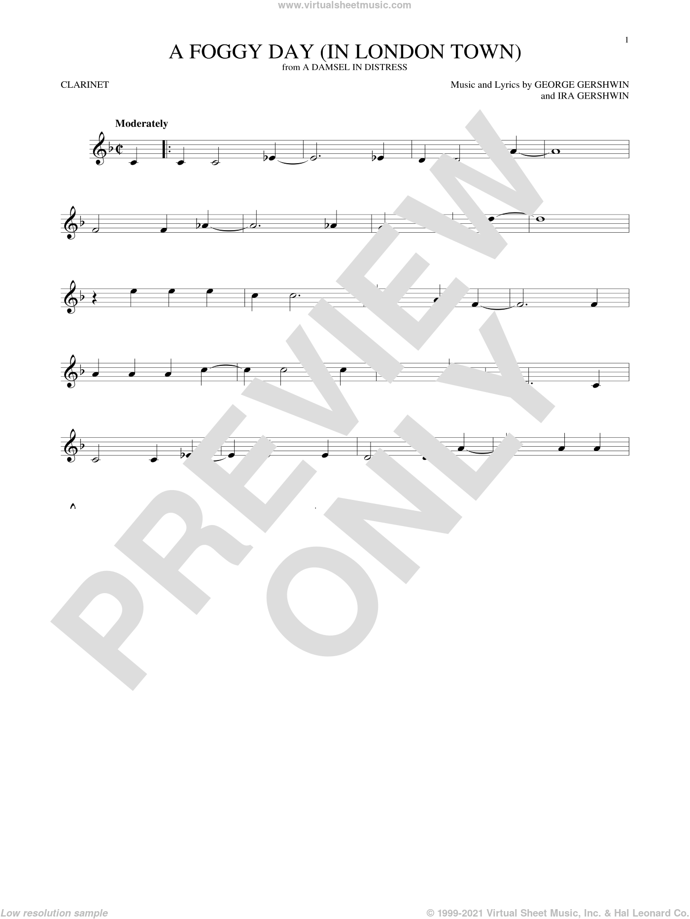 A Foggy Day (In London Town) sheet music for clarinet solo by George Gershwin and Ira Gershwin, intermediate