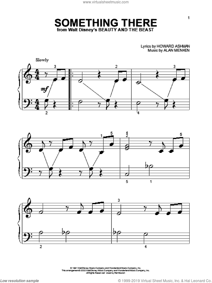 Something There sheet music for piano solo (big note book) by Alan Menken, Beauty And The Beast and Howard Ashman, easy piano (big note book)