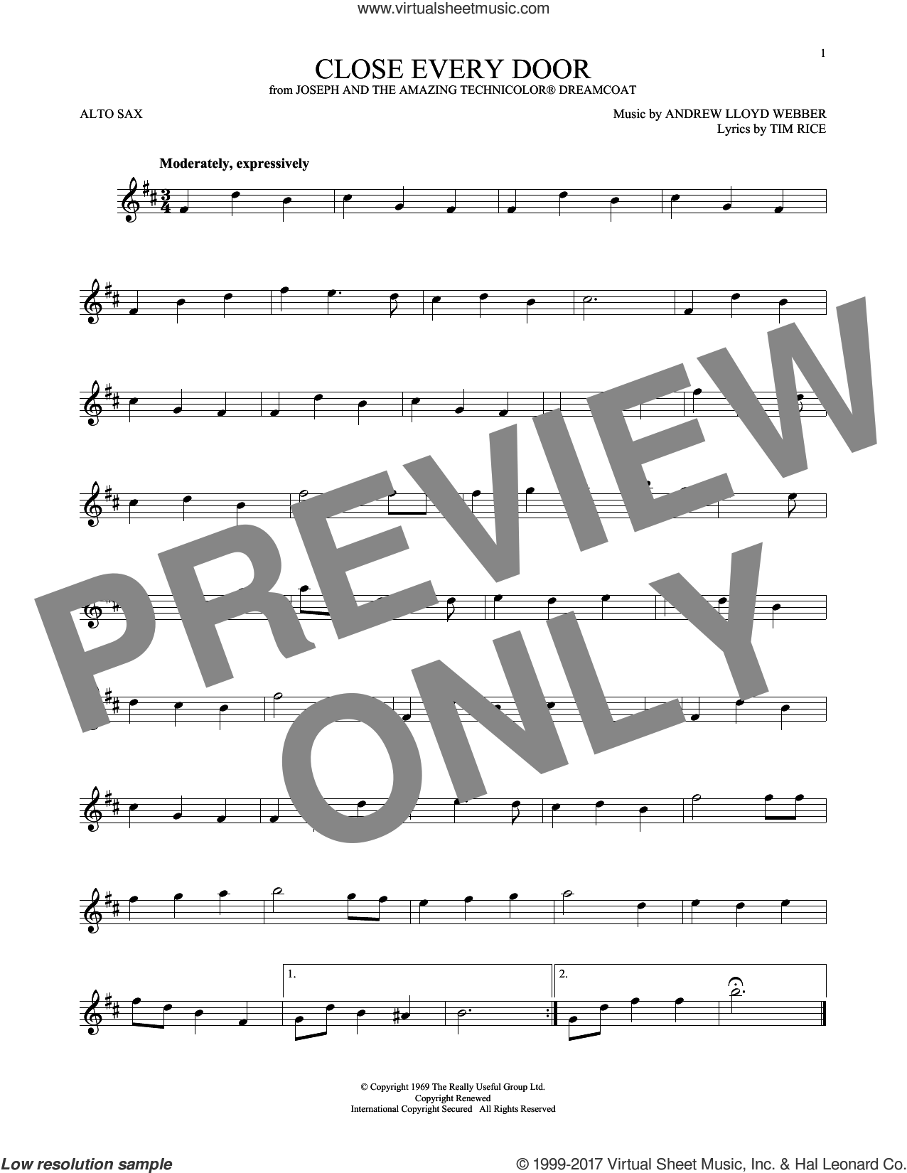 Close Every Door sheet music for alto saxophone solo by Andrew Lloyd Webber and Tim Rice, intermediate. Score Image Preview.
