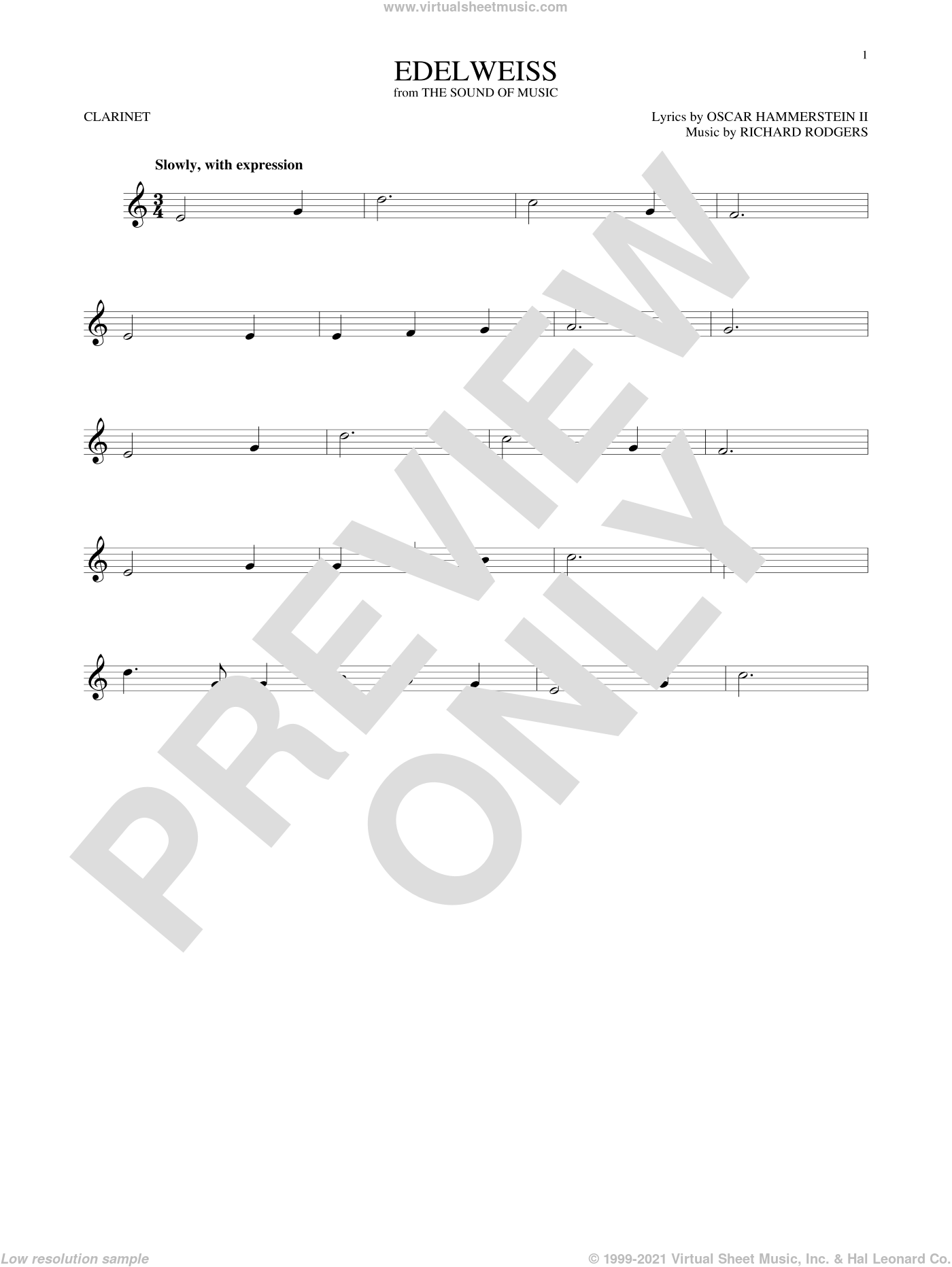 Edelweiss sheet music for clarinet solo by Rodgers & Hammerstein, Oscar II Hammerstein and Richard Rodgers, intermediate skill level