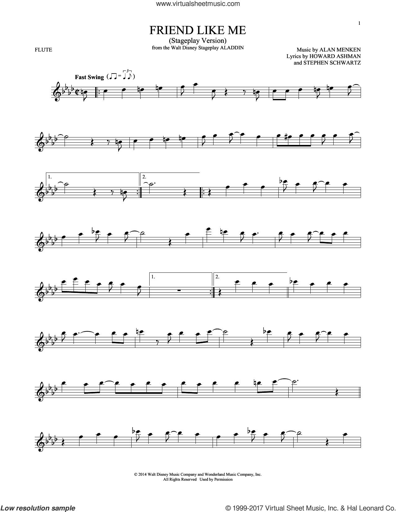Friend Like Me (from Aladdin) (Stageplay Version) sheet music for flute solo by Alan Menken, Howard Ashman and Stephen Schwartz, intermediate skill level