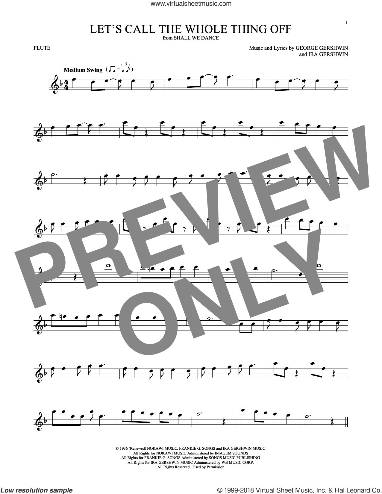 Let's Call The Whole Thing Off sheet music for flute solo by George Gershwin and Ira Gershwin, intermediate. Score Image Preview.