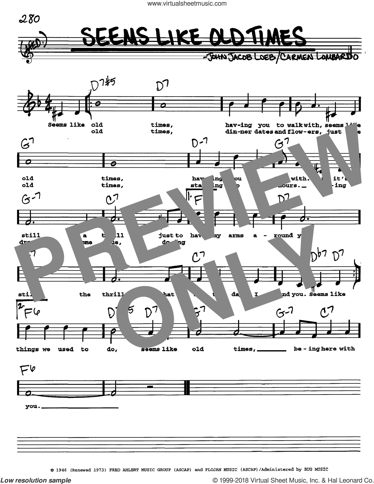 Seems Like Old Times sheet music for voice and other instruments  by John Jacob Loeb and Carmen Lombardo, intermediate skill level