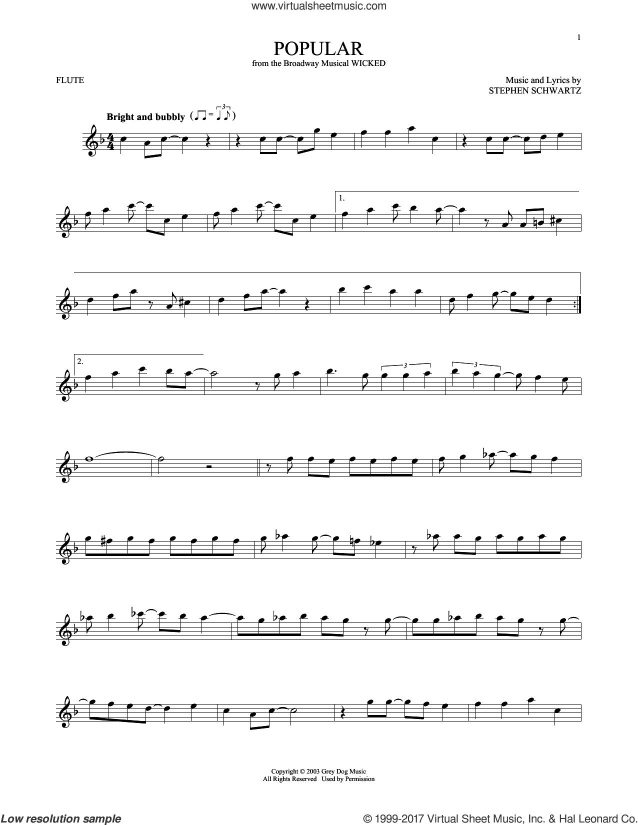 Popular (from Wicked) sheet music for flute solo by Stephen Schwartz, intermediate skill level