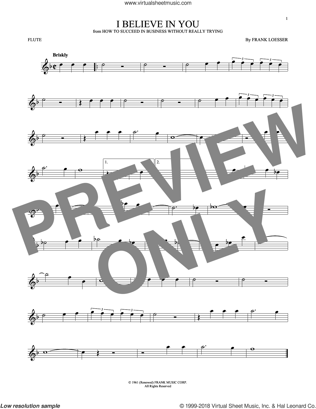 I Believe In You sheet music for flute solo by Frank Loesser, intermediate skill level