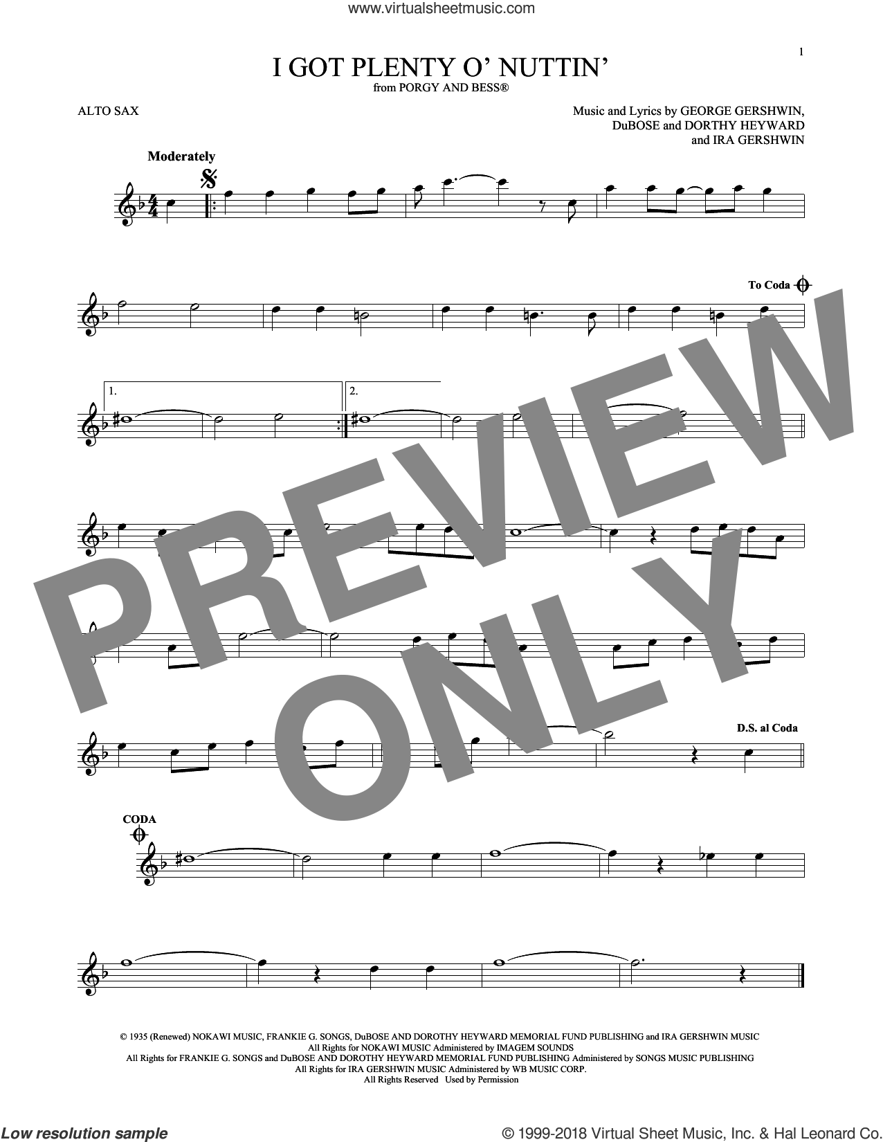 I Got Plenty O' Nuttin' sheet music for alto saxophone solo by George Gershwin, Dorothy Heyward, DuBose Heyward and Ira Gershwin, intermediate skill level
