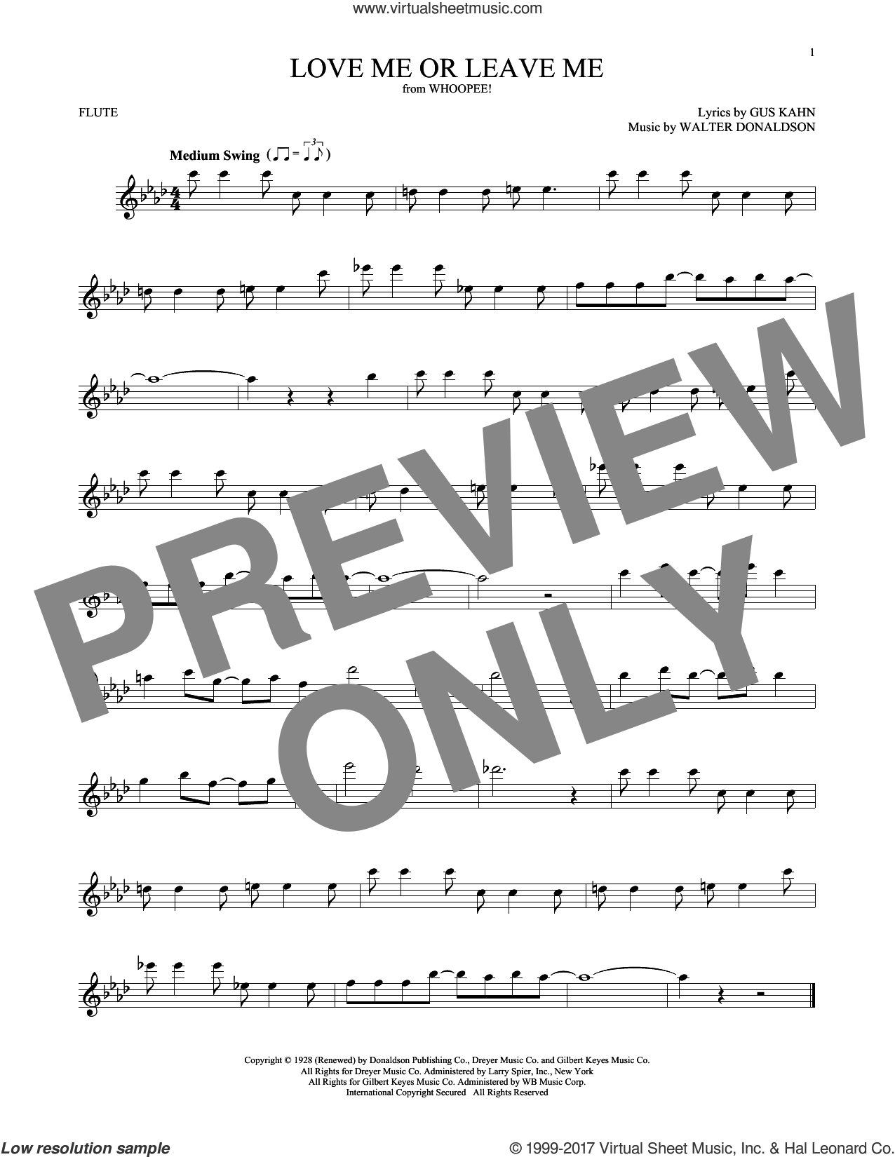 Love Me Or Leave Me sheet music for flute solo by Gus Kahn, Dave Pell and Walter Donaldson, intermediate