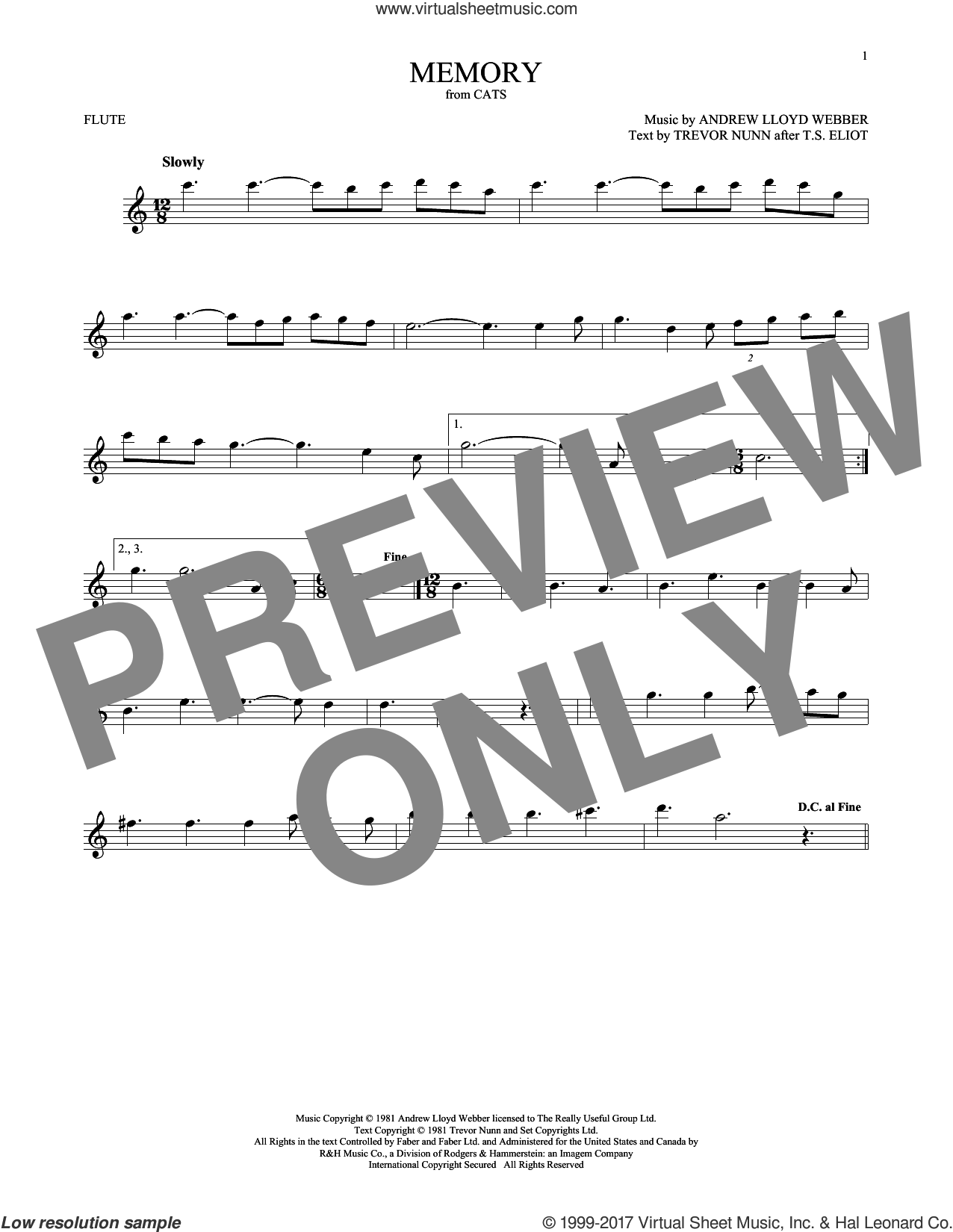 Memory sheet music for flute solo by Andrew Lloyd Webber and Barbra Streisand, intermediate. Score Image Preview.