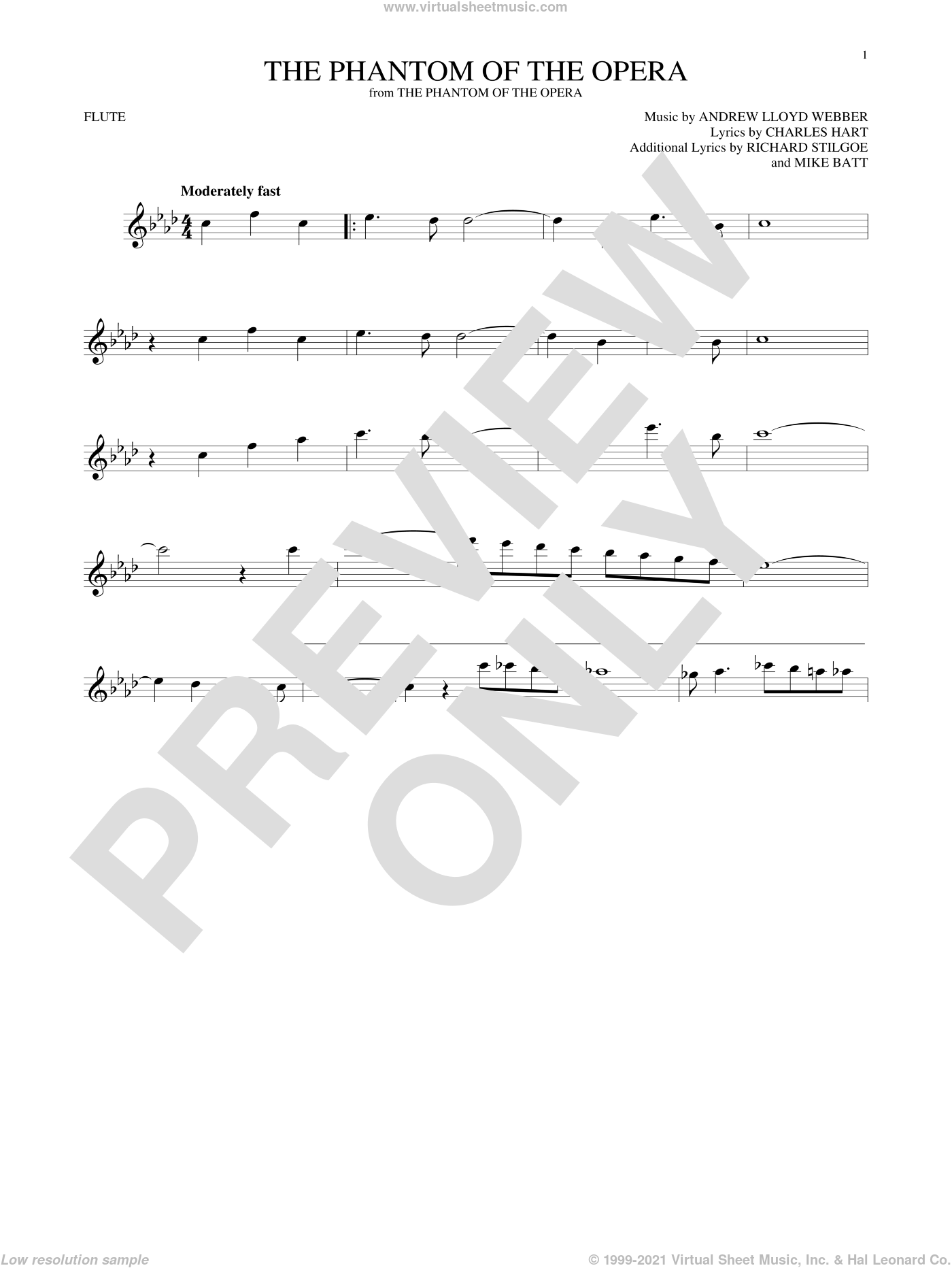 The Phantom Of The Opera sheet music for flute solo by Andrew Lloyd Webber, Charles Hart, Mike Batt and Richard Stilgoe, intermediate skill level
