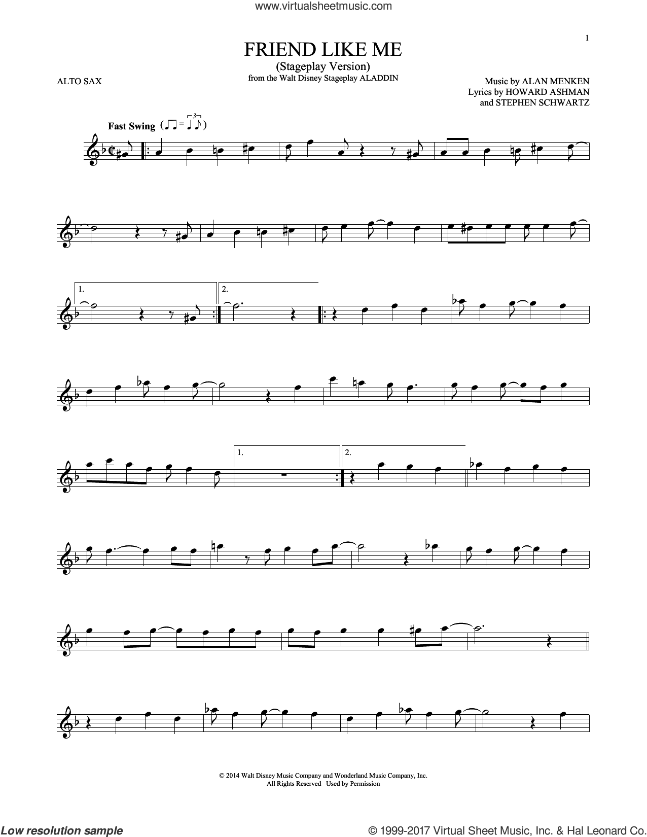 Friend Like Me (from Aladdin) (Stageplay Version) sheet music for alto saxophone solo by Alan Menken, Howard Ashman and Stephen Schwartz, intermediate skill level