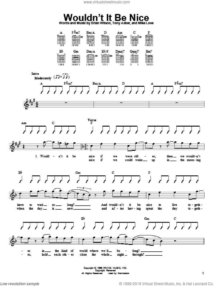 Wouldn't It Be Nice sheet music for guitar solo (chords) by The Beach Boys, Brian Wilson, Mike Love and Tony Asher, easy guitar (chords)