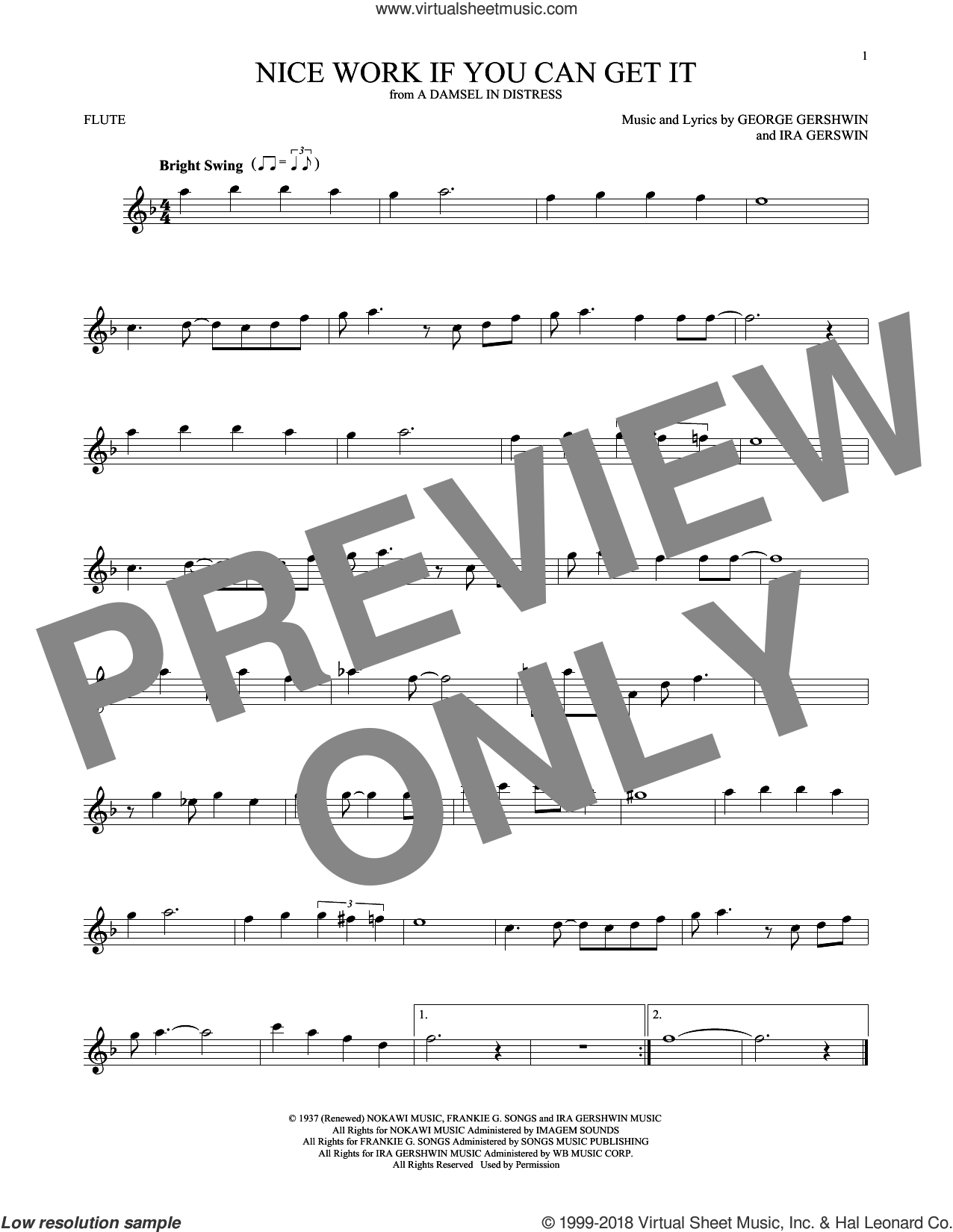 Nice Work If You Can Get It sheet music for flute solo by Frank Sinatra, George Gershwin and Ira Gershwin. Score Image Preview.