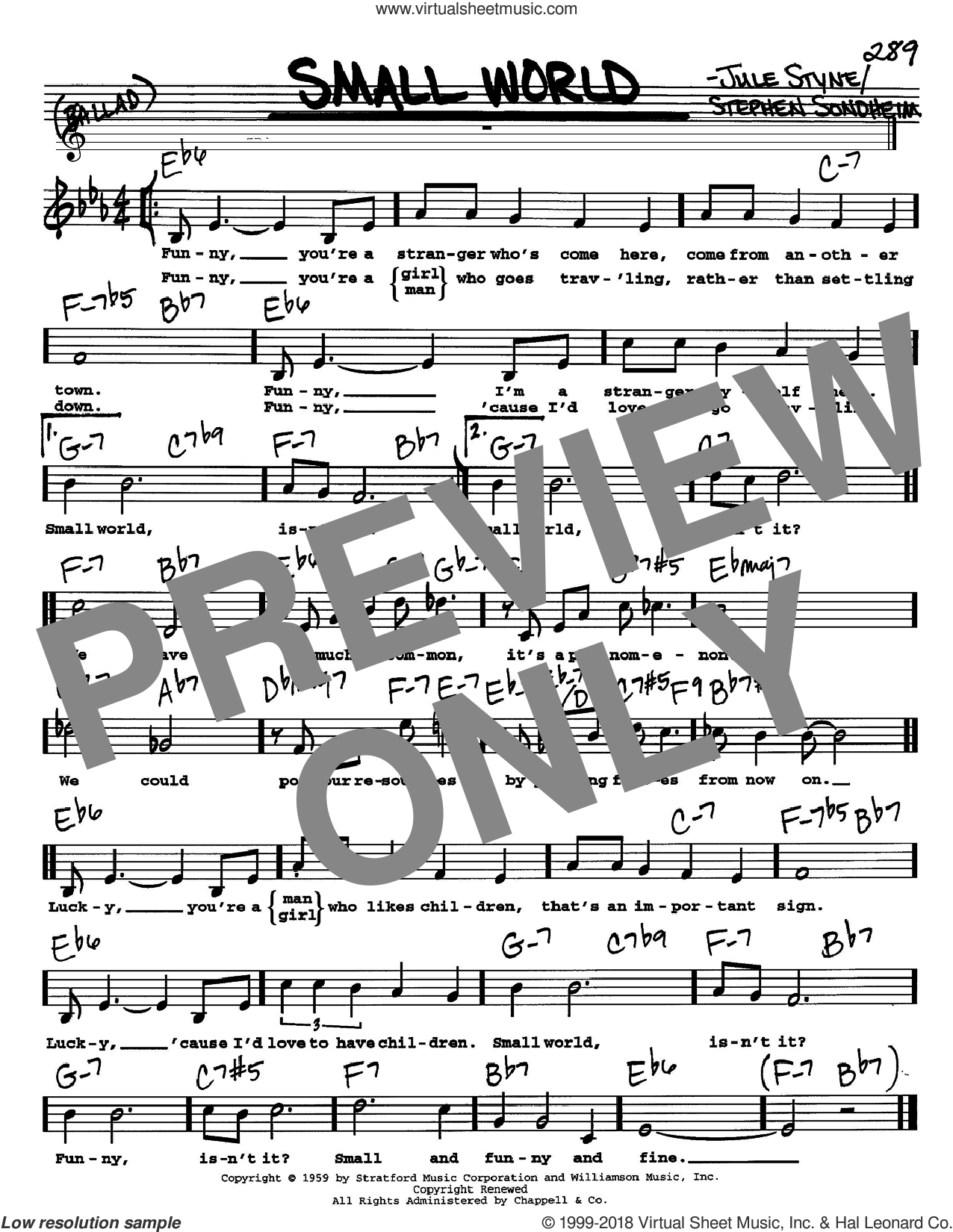 Small World sheet music for voice and other instruments (Vocal Volume 2) by Jule Styne and Stephen Sondheim. Score Image Preview.