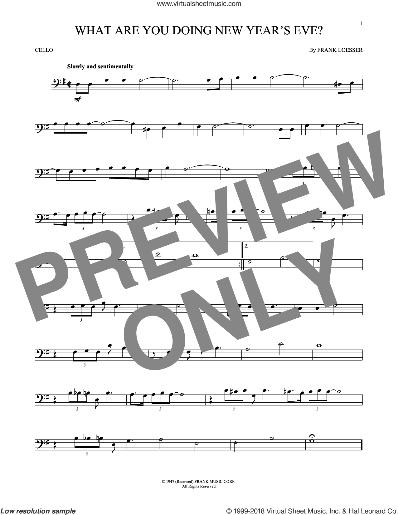 What Are You Doing New Year's Eve? sheet music for cello solo by Frank Loesser, intermediate skill level