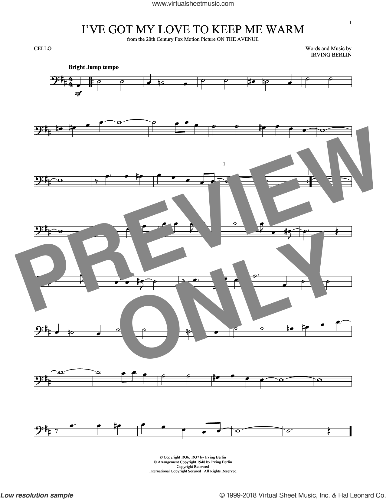 I've Got My Love To Keep Me Warm sheet music for cello solo by Irving Berlin and Benny Goodman, intermediate skill level