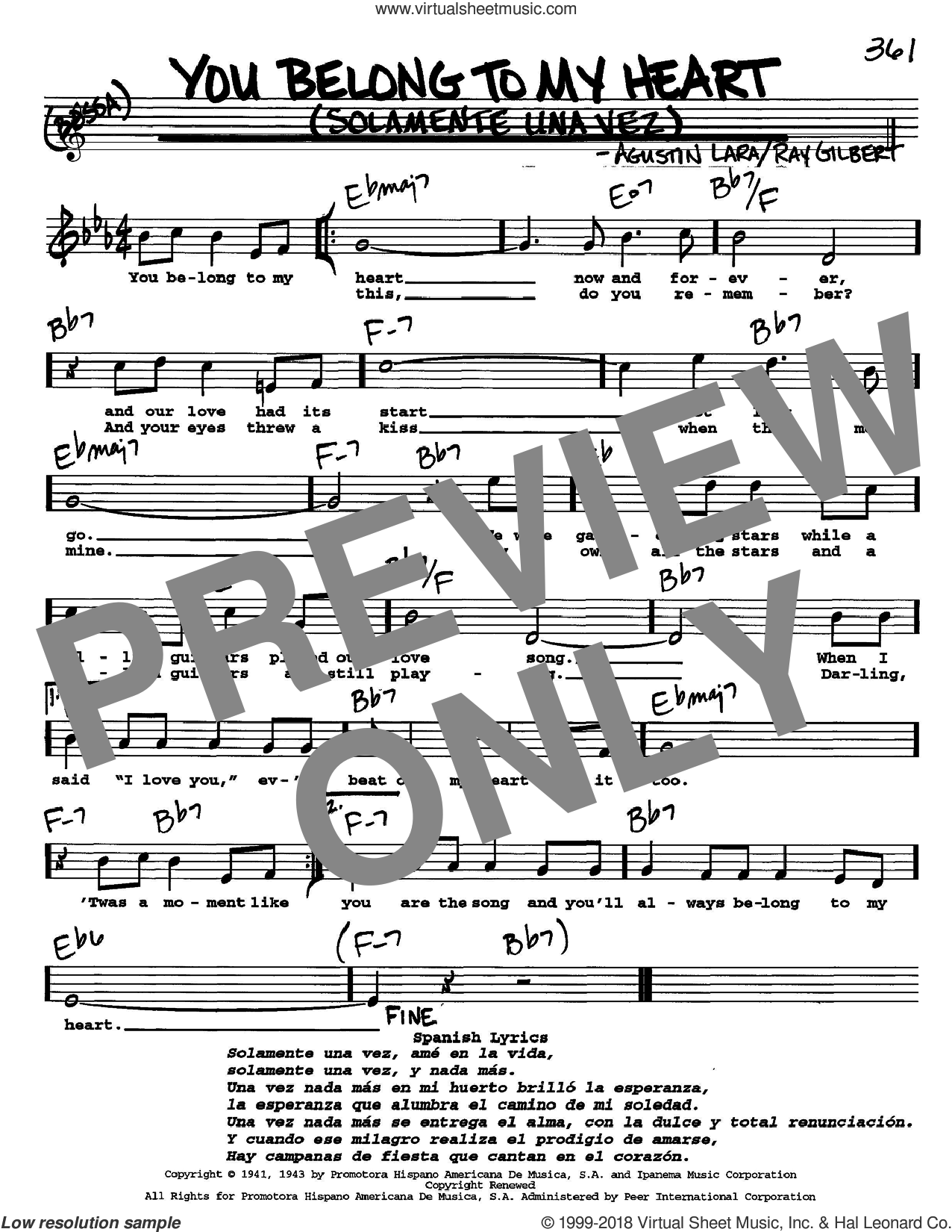 You Belong To My Heart (Solamente Una Vez) sheet music for voice and other instruments  by Ray Gilbert and Agustin Lara, intermediate skill level