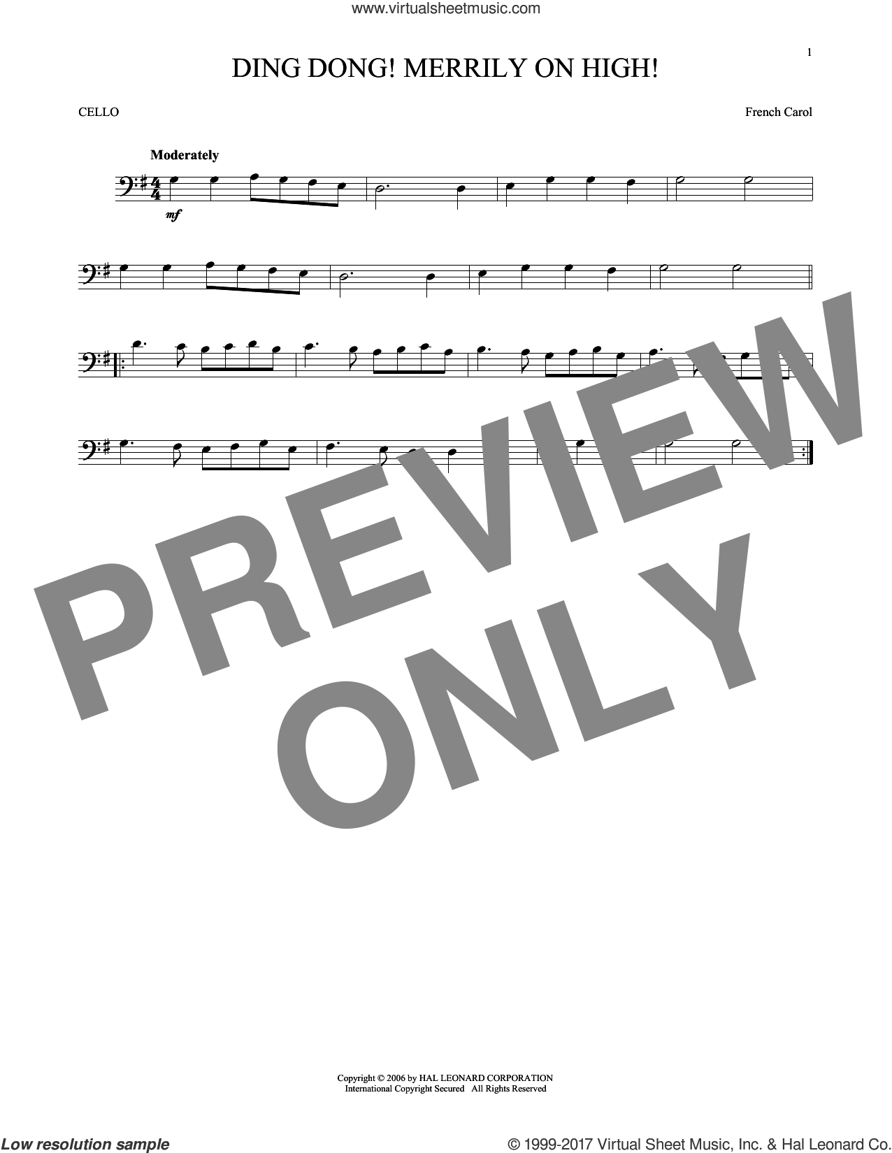 Ding Dong! Merrily On High! sheet music for cello solo, intermediate skill level