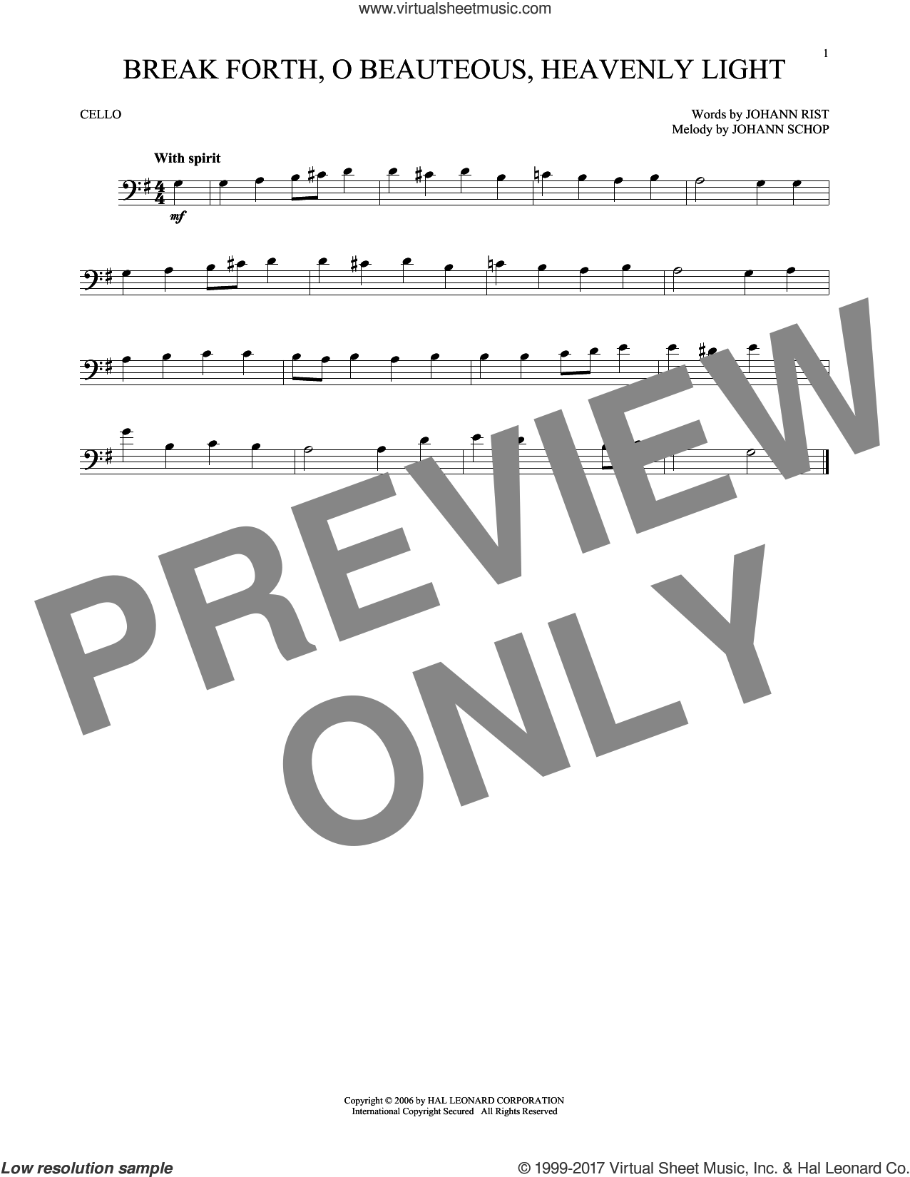 Break Forth, O Beauteous, Heavenly Light sheet music for cello solo by Johann Sebastian Bach, classical score, intermediate. Score Image Preview.