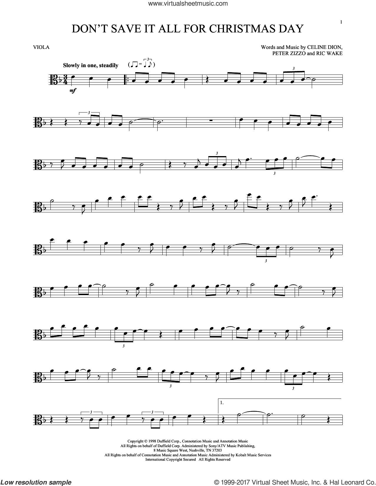 Don't Save It All For Christmas Day sheet music for viola solo by Celine Dion, Peter Zizzo and Ric Wake, intermediate skill level
