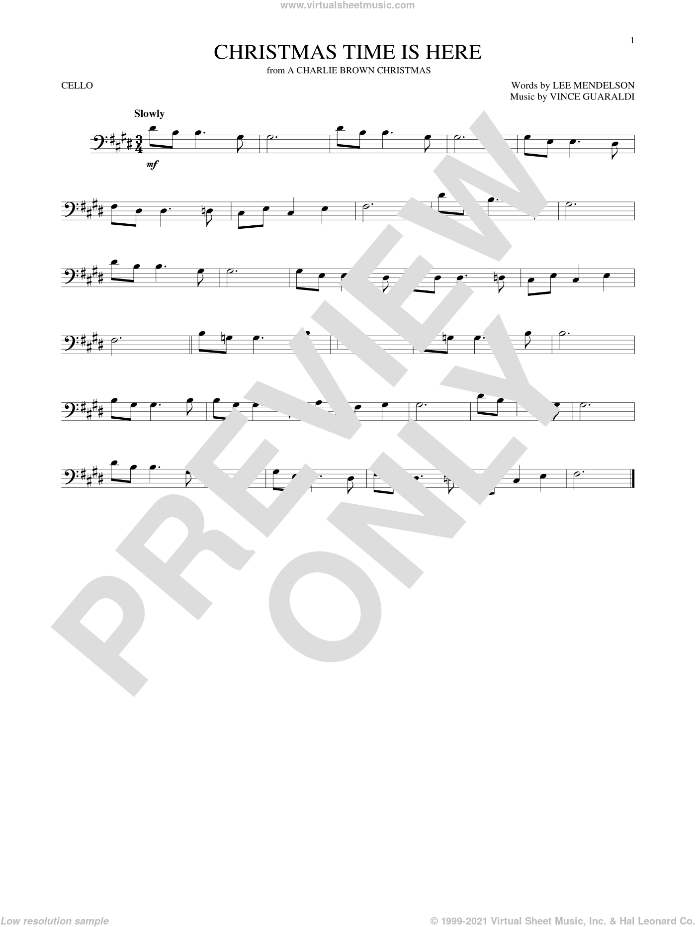 Christmas Time Is Here sheet music for cello solo by Vince Guaraldi and Lee Mendelson. Score Image Preview.