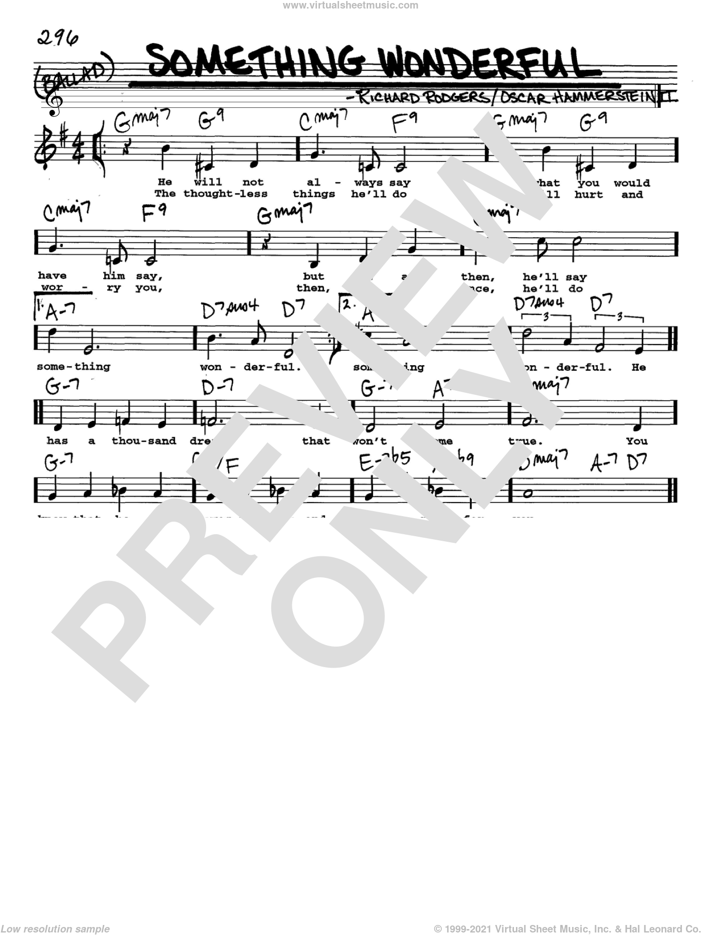 Something Wonderful sheet music for voice and other instruments (Vocal Volume 2) by Richard Rodgers, Rodgers & Hammerstein and Oscar II Hammerstein. Score Image Preview.
