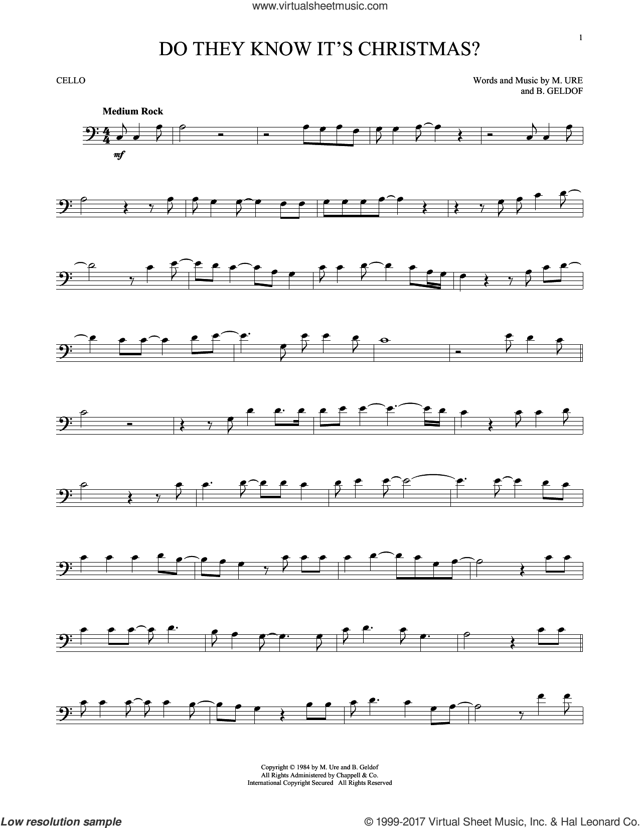 Do They Know It's Christmas? (Feed The World) sheet music for cello solo by Midge Ure and Bob Geldof, intermediate skill level