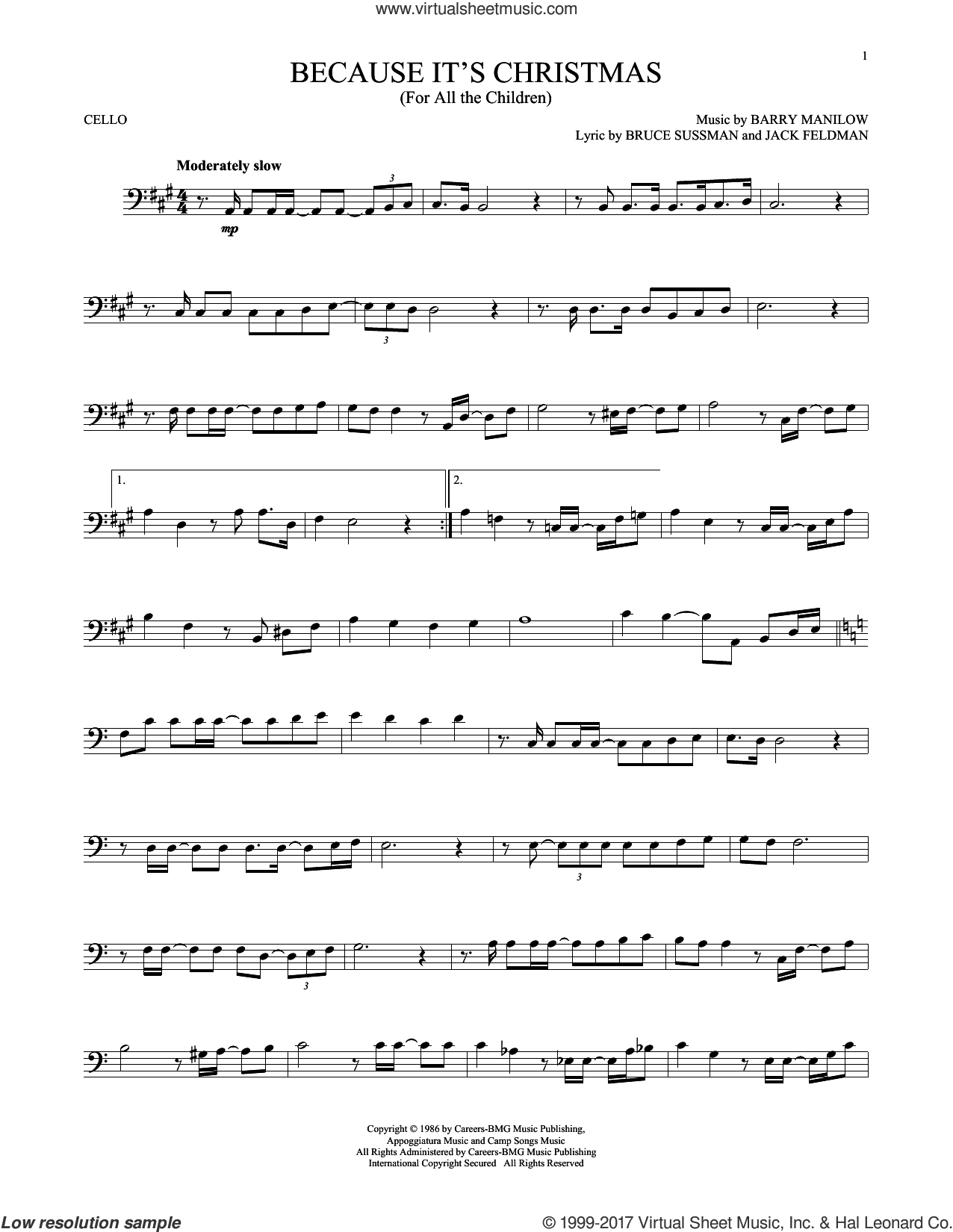 Because It's Christmas (For All The Children) sheet music for cello solo by Barry Manilow, Bruce Sussman and Jack Feldman, intermediate skill level