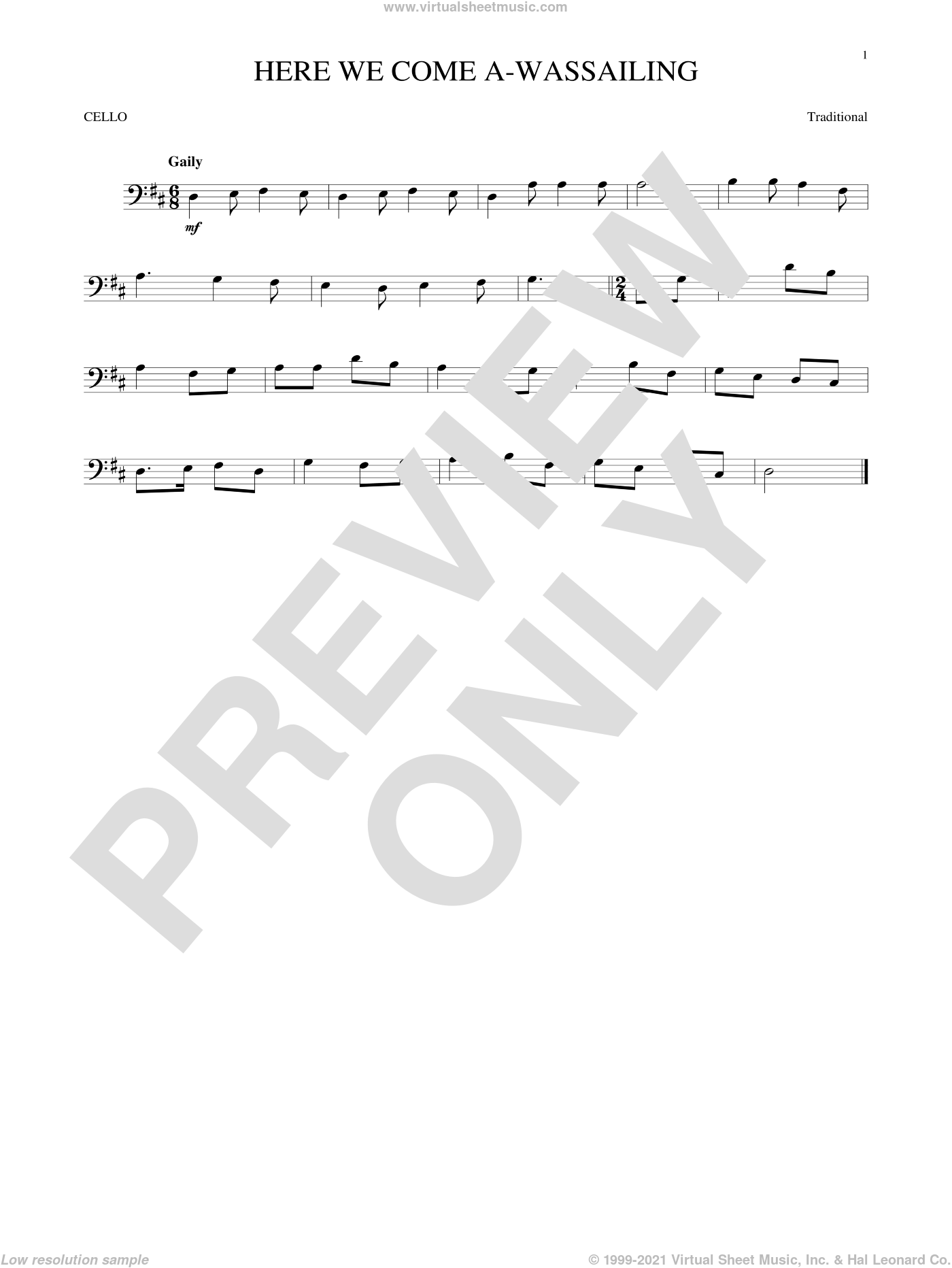 Here We Come A-Wassailing sheet music for cello solo, intermediate skill level