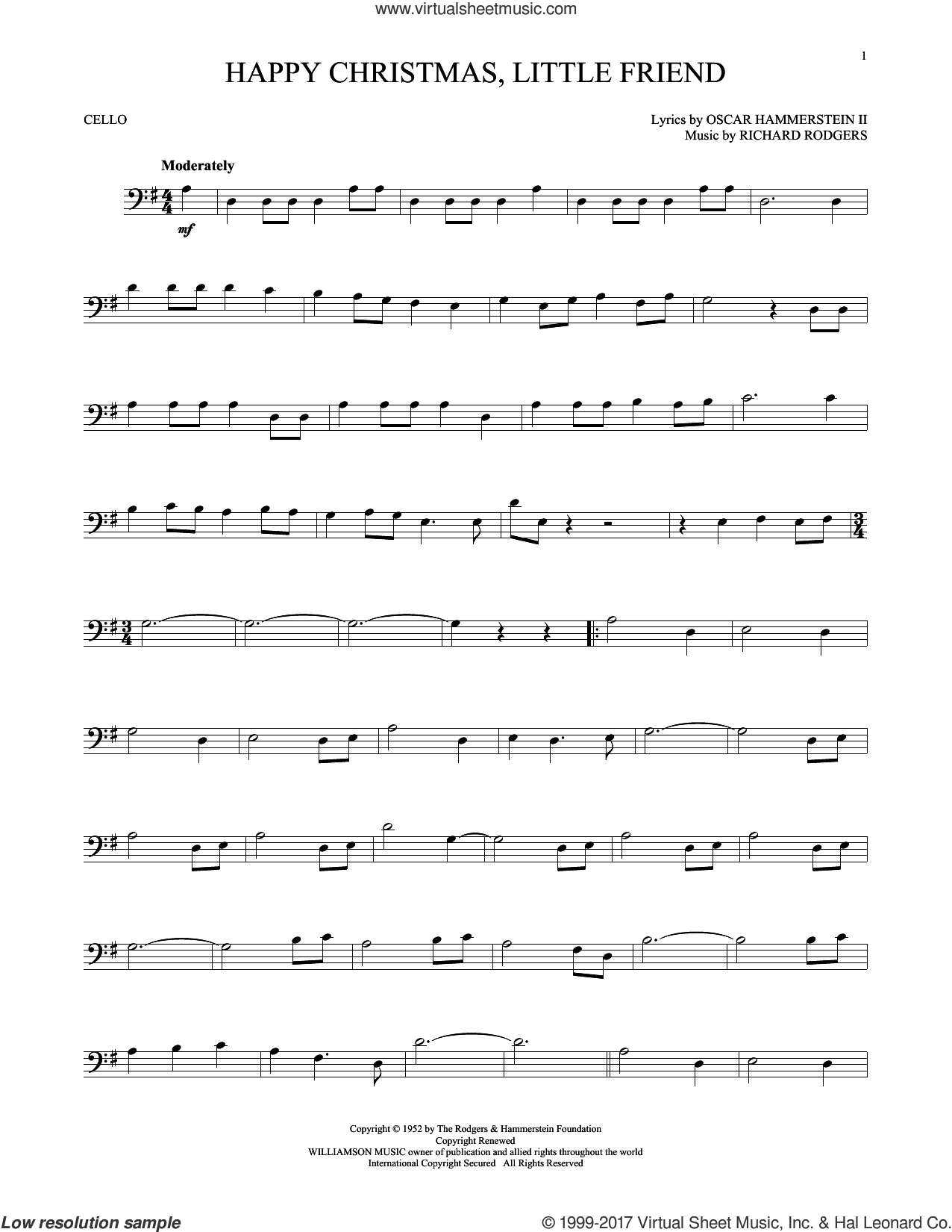 Happy Christmas, Little Friend sheet music for cello solo by Rodgers & Hammerstein, Oscar II Hammerstein and Richard Rodgers. Score Image Preview.