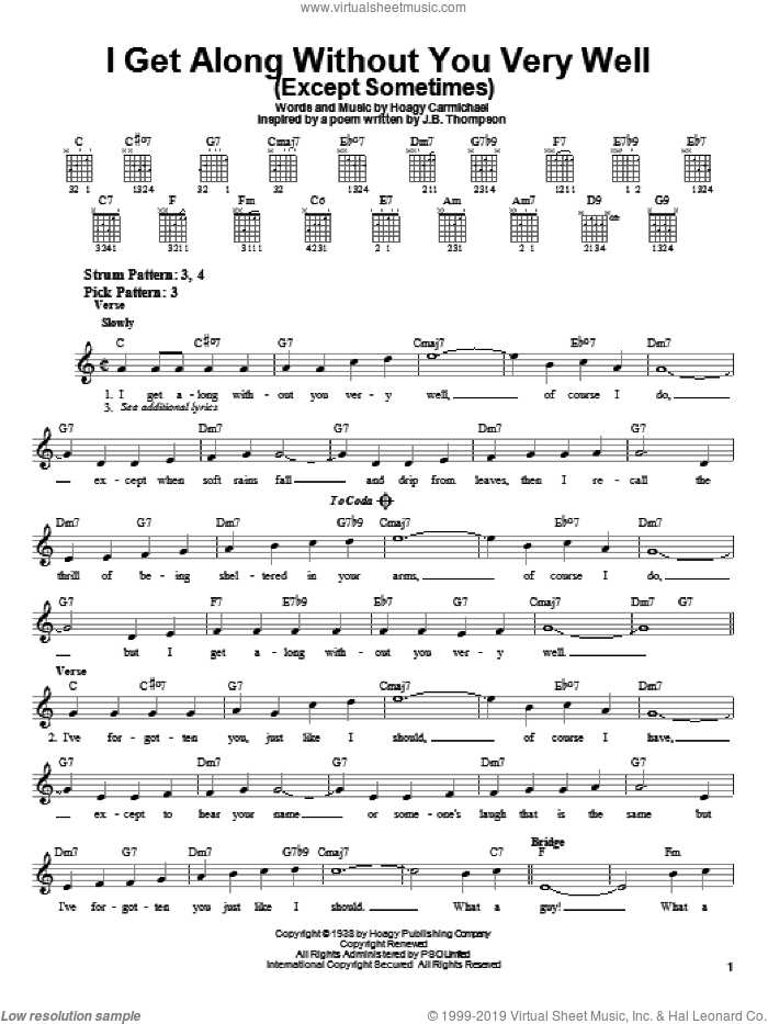 I Get Along Without You Very Well (Except Sometimes) sheet music for guitar solo (chords) by Hoagy Carmichael, easy guitar (chords)