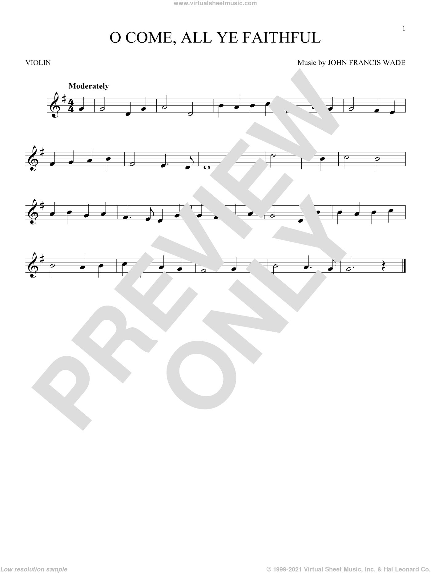 O Come, All Ye Faithful sheet music for violin solo by John Francis Wade and Frederick Oakeley (English), intermediate skill level