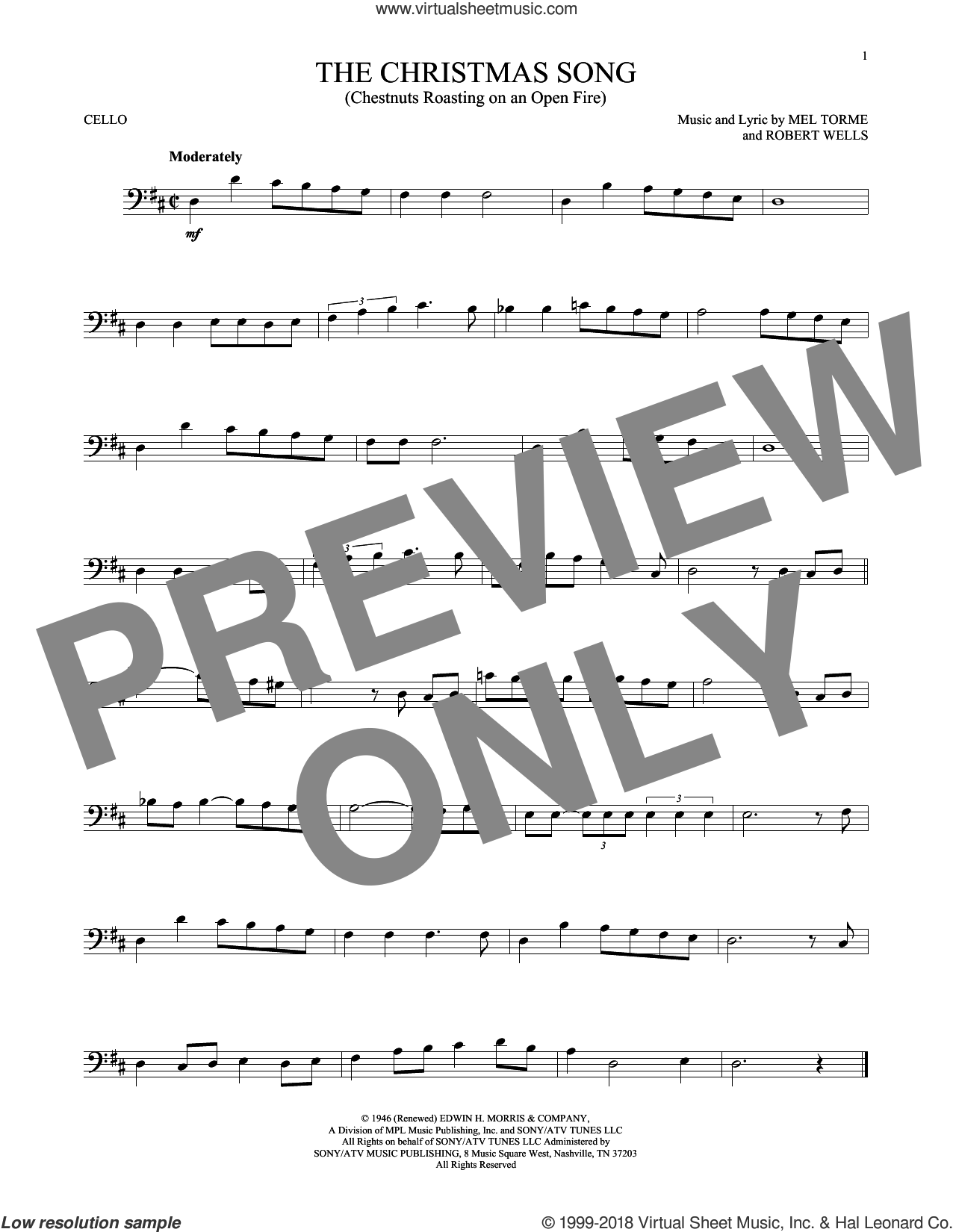The Christmas Song (Chestnuts Roasting On An Open Fire) sheet music for cello solo by Mel Torme, intermediate. Score Image Preview.