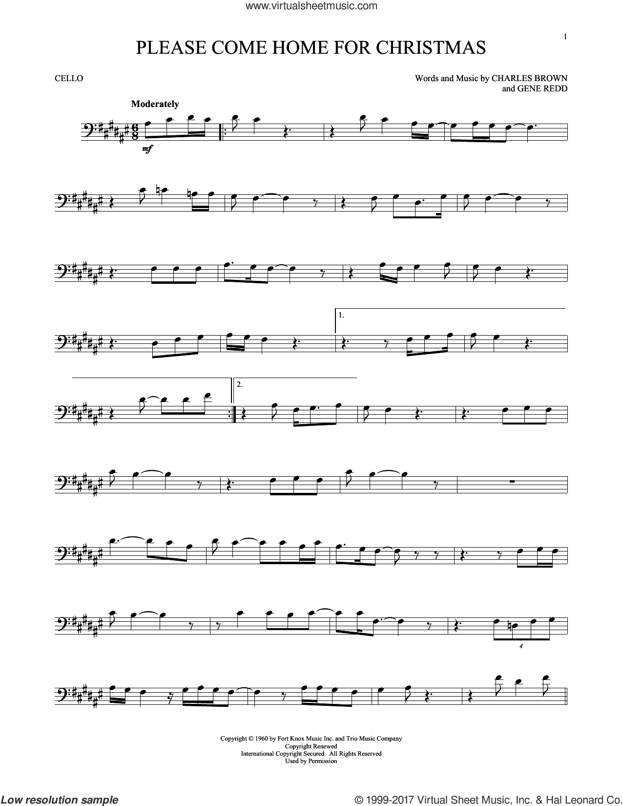 Please Come Home For Christmas sheet music for cello solo by Charles Brown, Josh Gracin, Martina McBride, Willie Nelson and Gene Redd, intermediate skill level