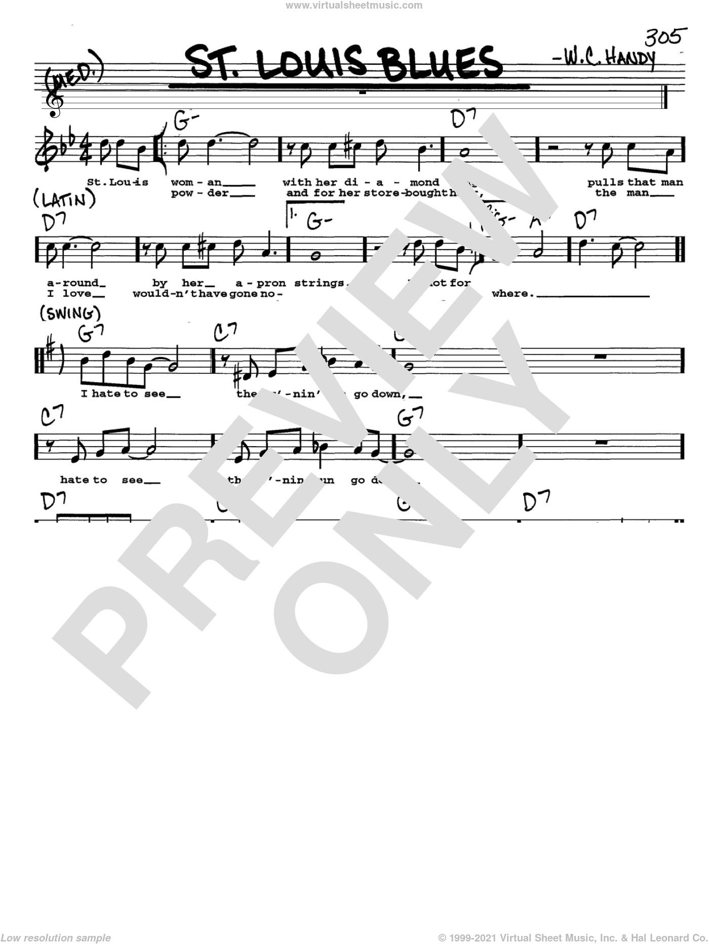 St. Louis Blues sheet music for voice and other instruments (Vocal Volume 2) by W.C. Handy. Score Image Preview.