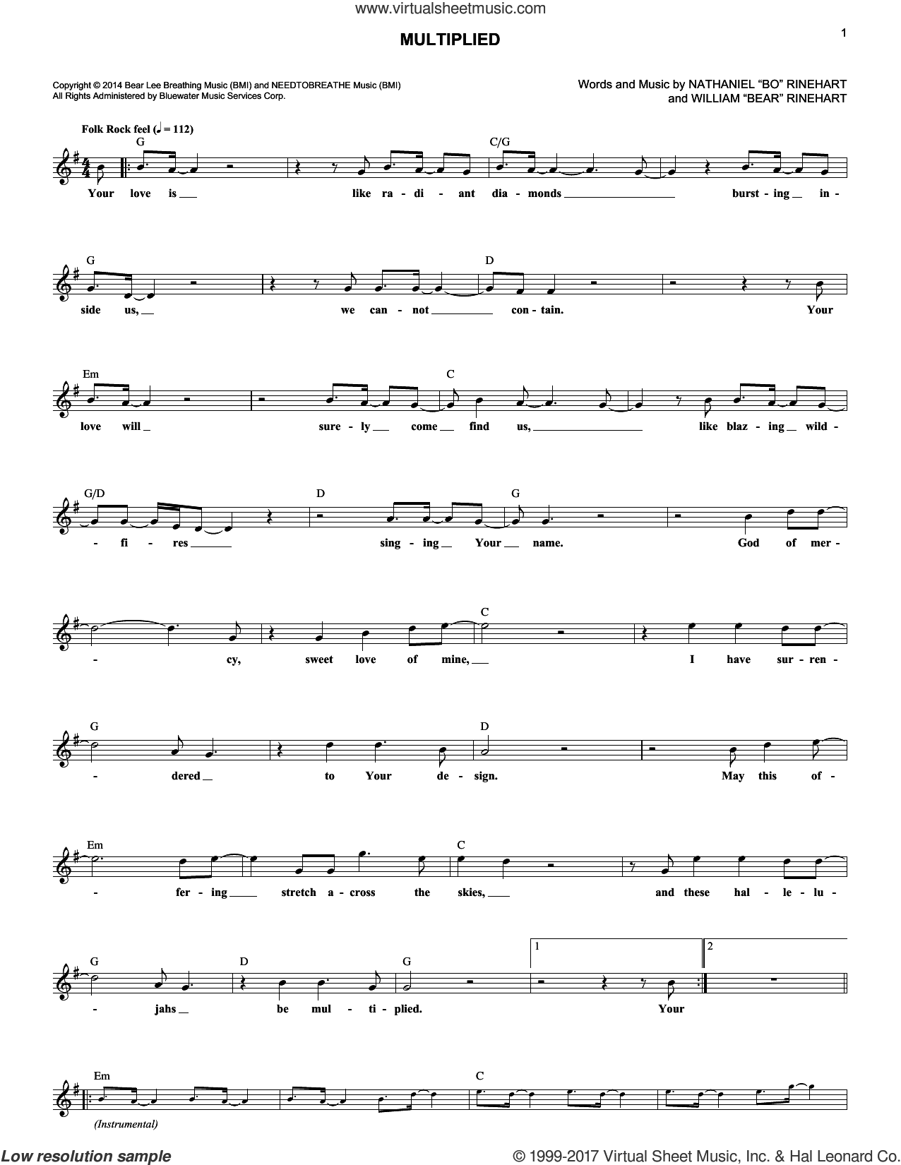 Multiplied sheet music for voice and other instruments (fake book) by NEEDTOBREATHE, Nathaniel 'Bo' Rinehart and William 'Bear' Rinehart, intermediate skill level
