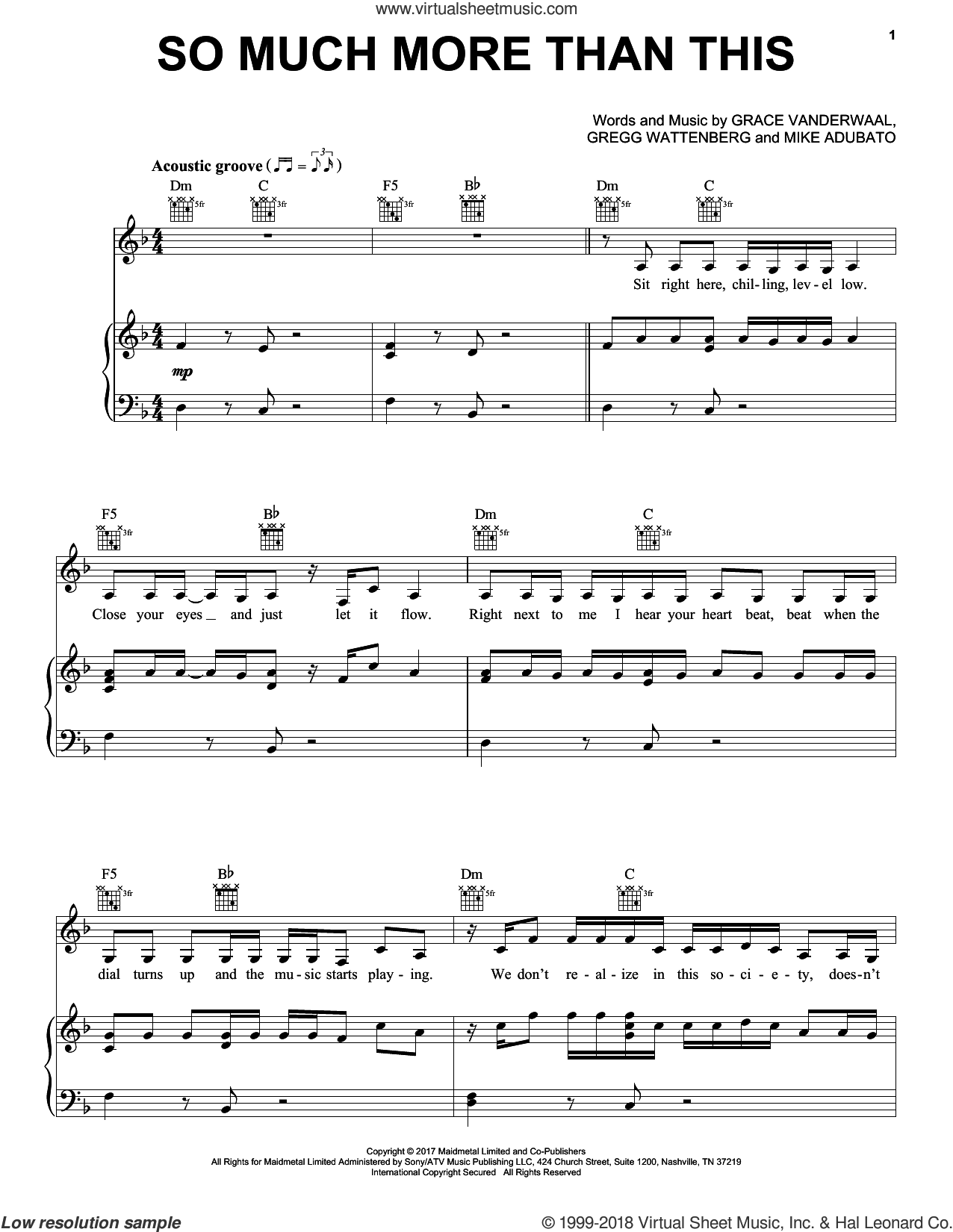So Much More Than This sheet music for voice, piano or guitar by Grace VanderWaal, Gregg Wattenberg and Mike Adubato, intermediate skill level