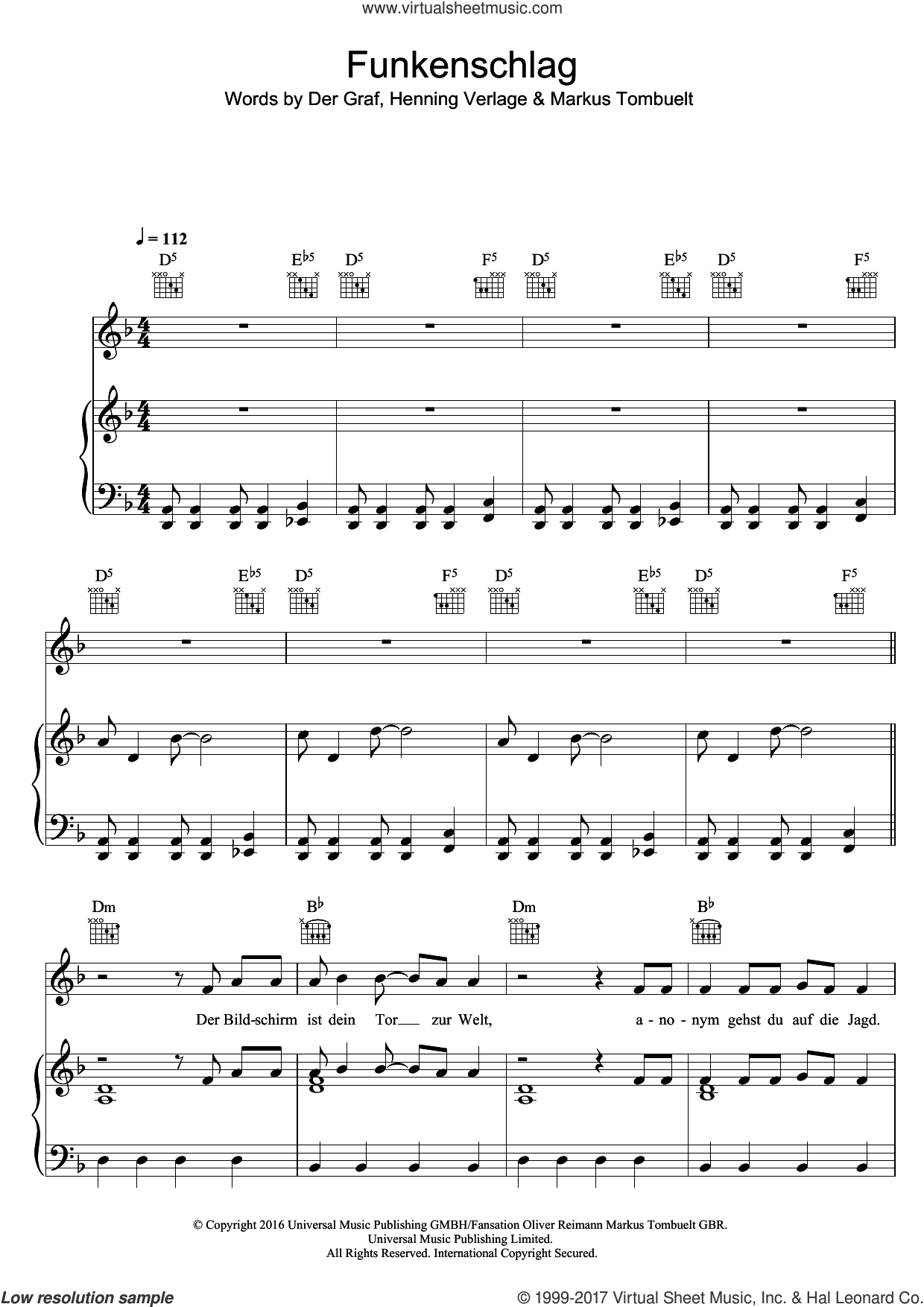Funkenschlag sheet music for voice, piano or guitar by Unheilig. Score Image Preview.