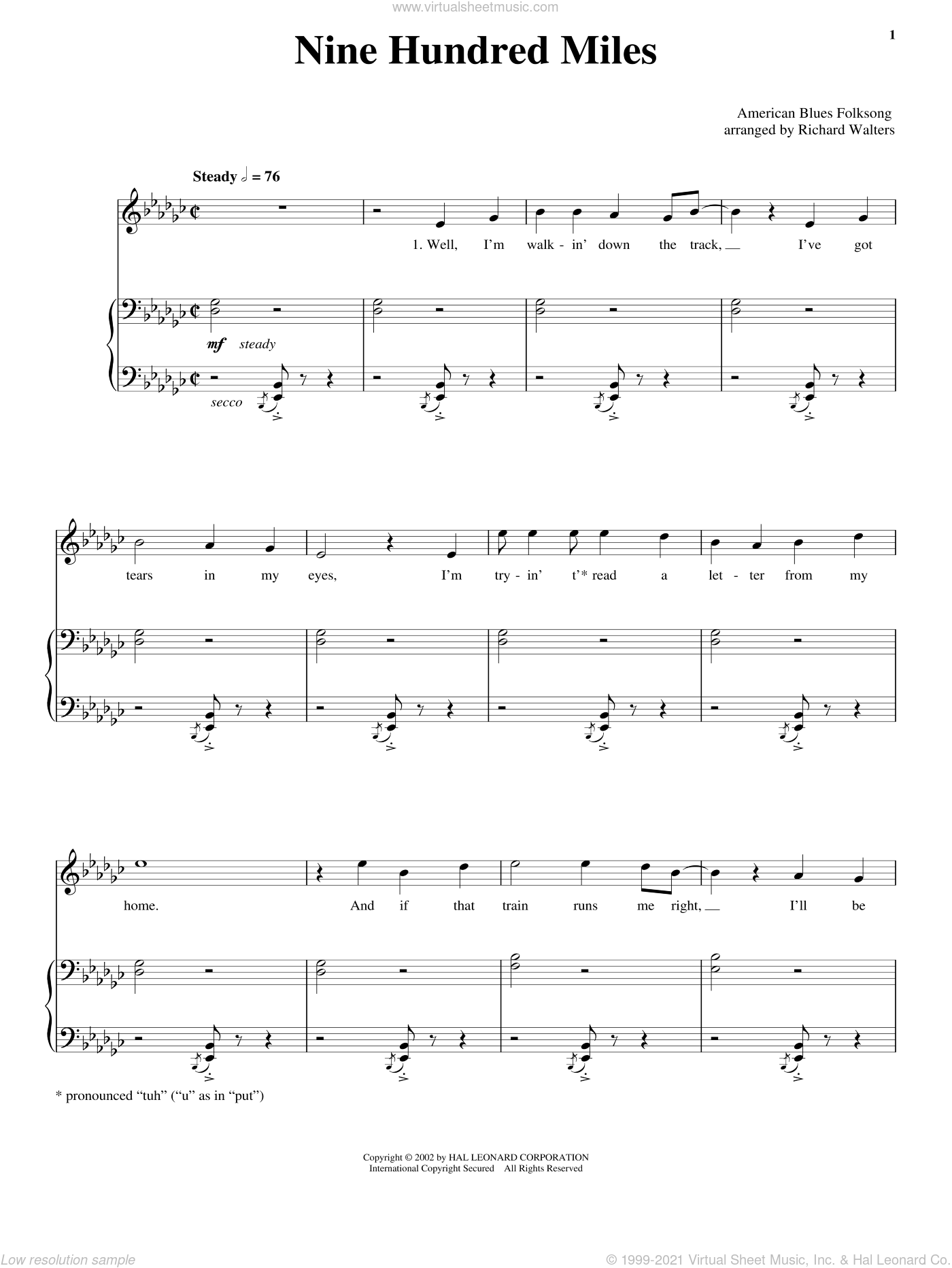 Nine Hundred Miles sheet music for voice, piano or guitar, intermediate skill level