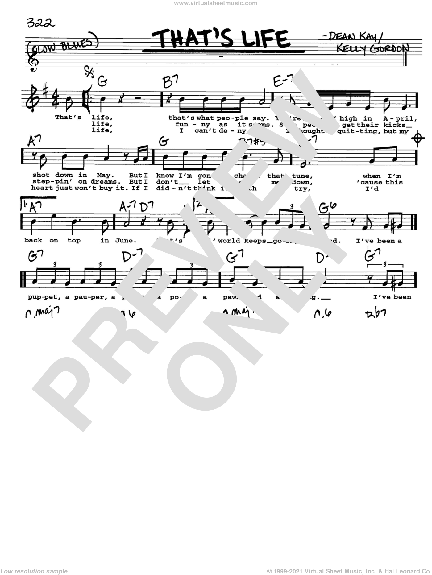 That's Life sheet music for voice and other instruments (Vocal Volume 2) by Kelly Gordon, Frank Sinatra and Dean Kay. Score Image Preview.