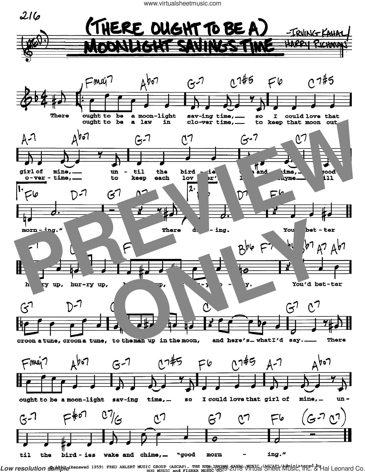 (There Ought To Be A) Moonlight Savings Time sheet music for voice and other instruments  by Irving Kahal and Harry Richman, intermediate skill level