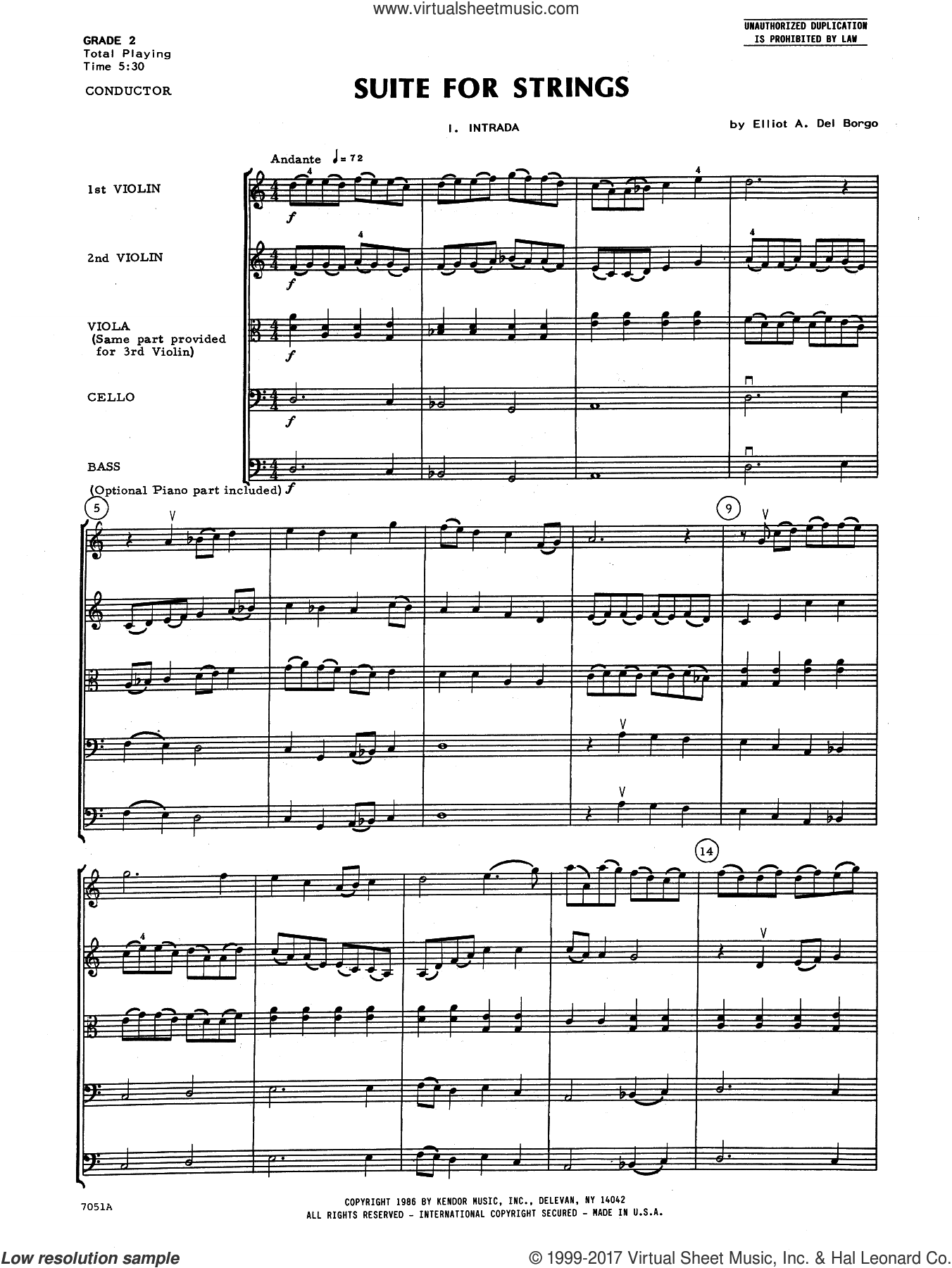 Suite for Strings (COMPLETE) sheet music for orchestra by Elliot Del Borgo, classical score, intermediate skill level