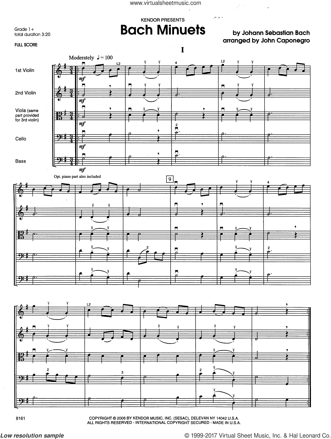 Bach Minuets (COMPLETE) sheet music for string orchestra by Johann Sebastian Bach and John Caponegro, classical score, intermediate skill level