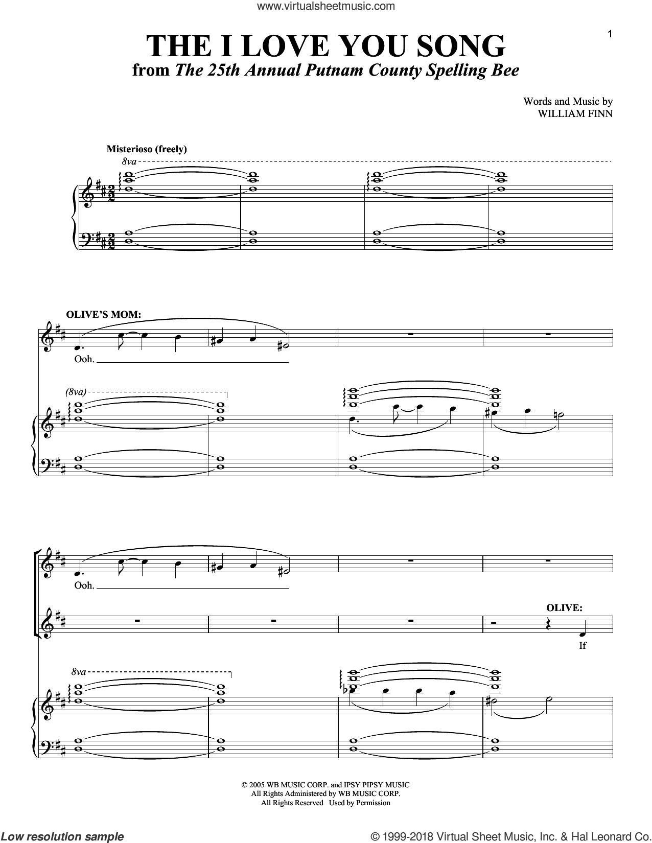 The I Love You Song sheet music for voice and piano by William Finn, intermediate skill level