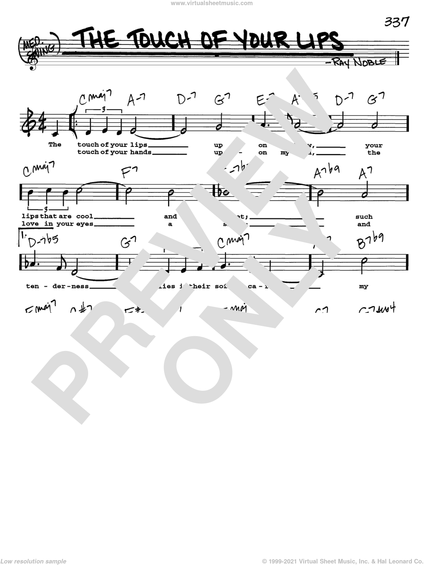 The Touch Of Your Lips sheet music for voice and other instruments (Vocal Volume 2) by Ray Noble. Score Image Preview.