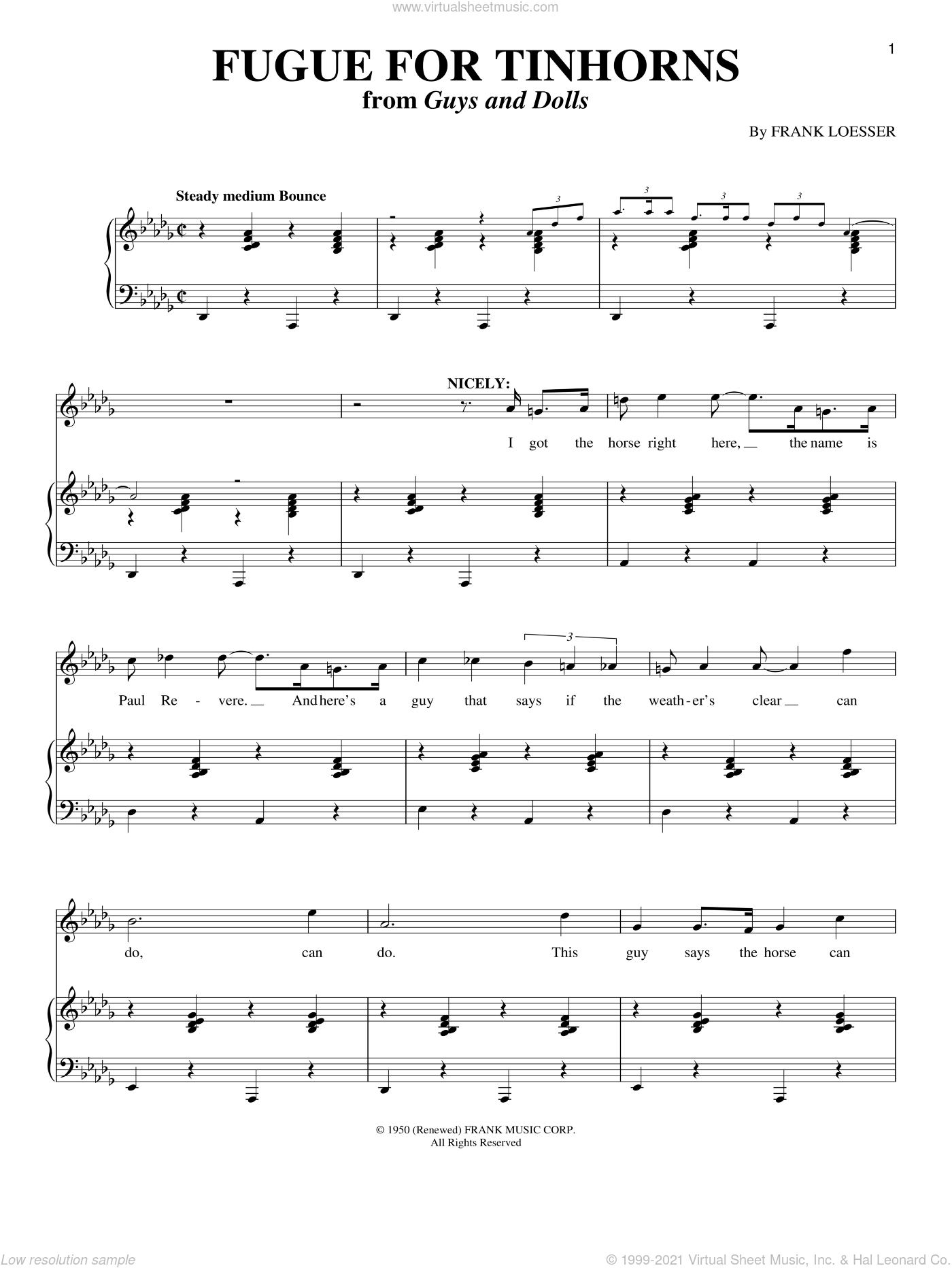 Fugue For Tinhorns sheet music for voice and piano by Frank Loesser, intermediate skill level