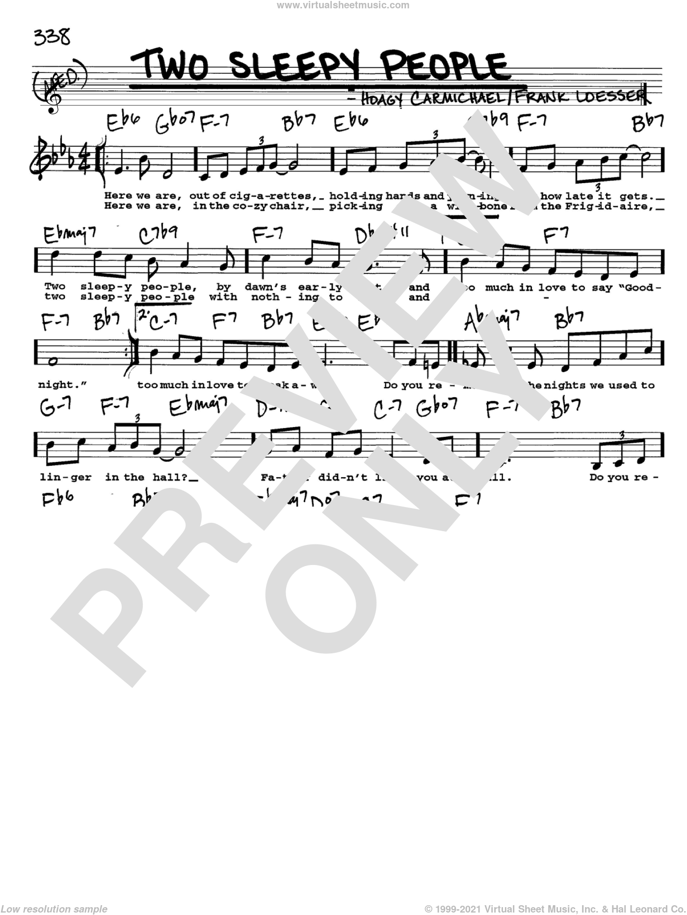 Two Sleepy People sheet music for voice and other instruments (Vocal Volume 2) by Frank Loesser and Hoagy Carmichael. Score Image Preview.