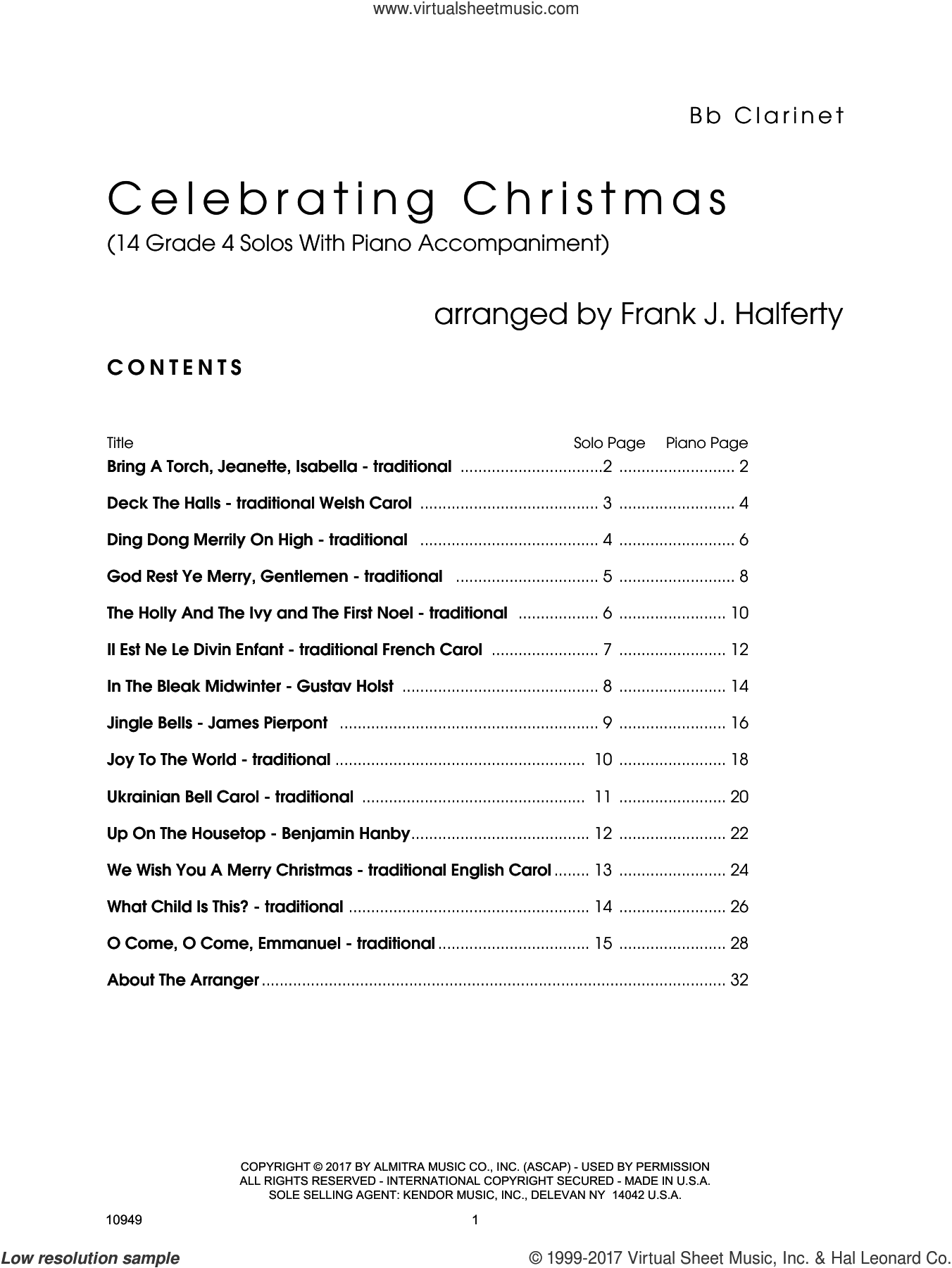Celebrating Christmas (14 Grade 4 Solos With Piano Accompaniment) (complete set of parts) sheet music for clarinet and piano by Frank J. Halferty, intermediate skill level