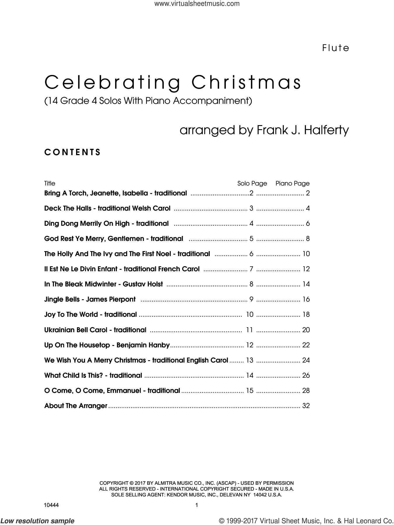 Celebrating Christmas (14 Grade 4 Solos With Piano Accompaniment) (complete set of parts) sheet music for flute and piano by Frank J. Halferty, intermediate skill level