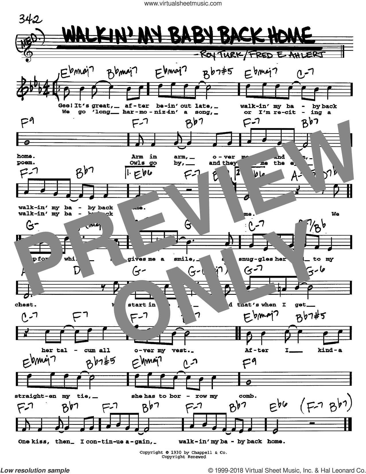 Walkin' My Baby Back Home sheet music for voice and other instruments (Vocal Volume 2) by Fred Ahlert and Roy Turk. Score Image Preview.