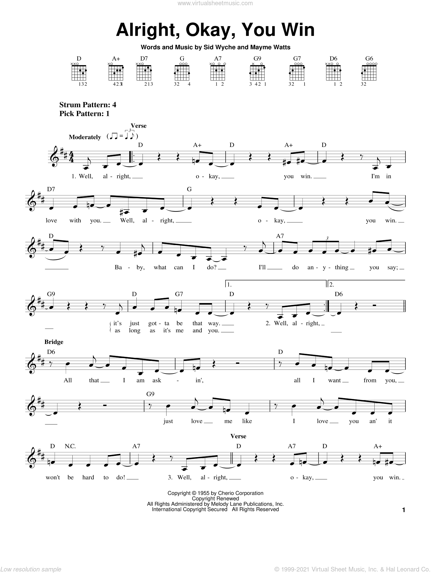 Alright, Okay, You Win sheet music for guitar solo (chords) by Peggy Lee, Mayme Watts and Sid Wyche, easy guitar (chords)